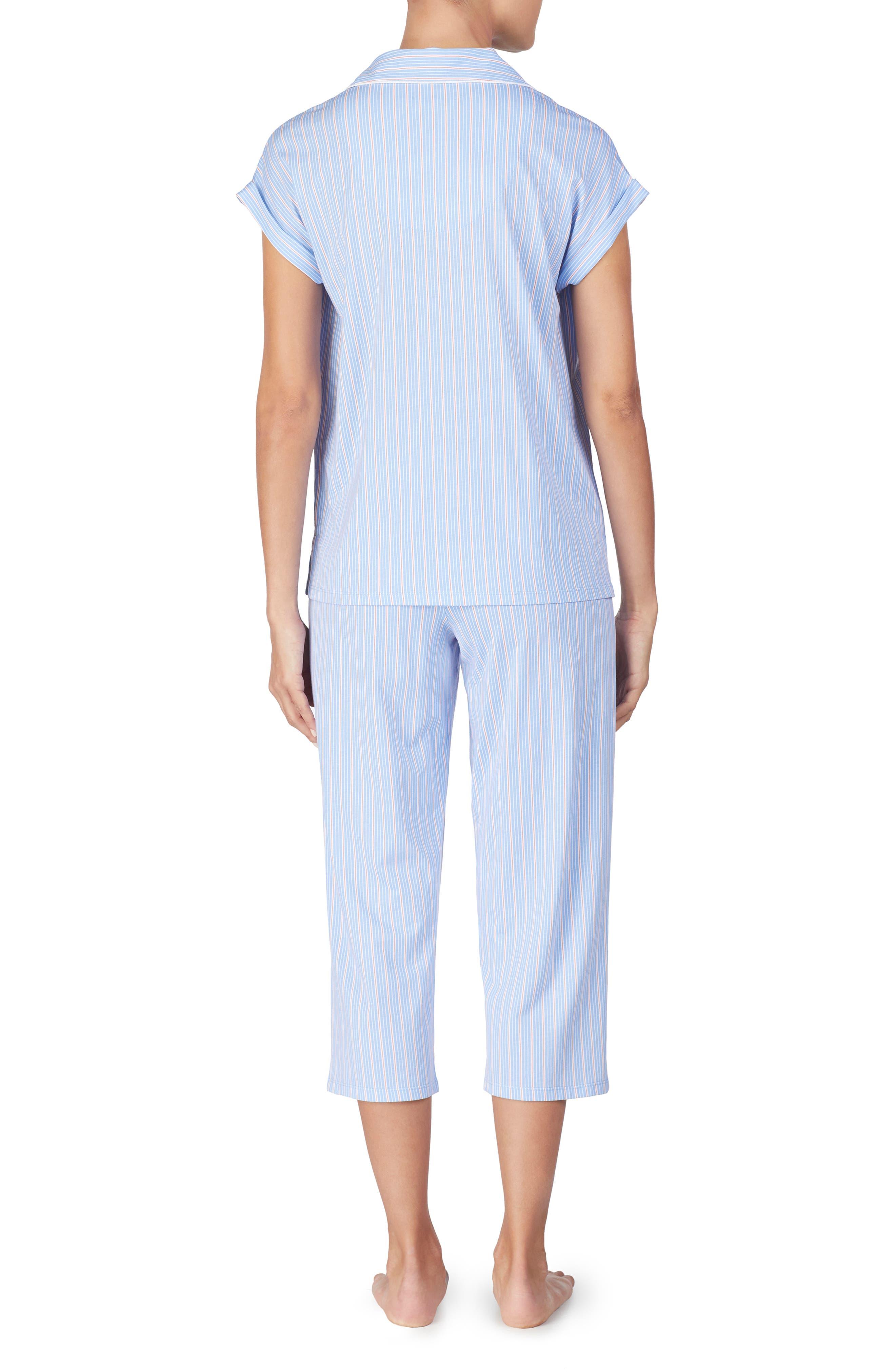 LAUREN RALPH LAUREN, Capri Pajamas, Alternate thumbnail 3, color, BLUE STRIPE
