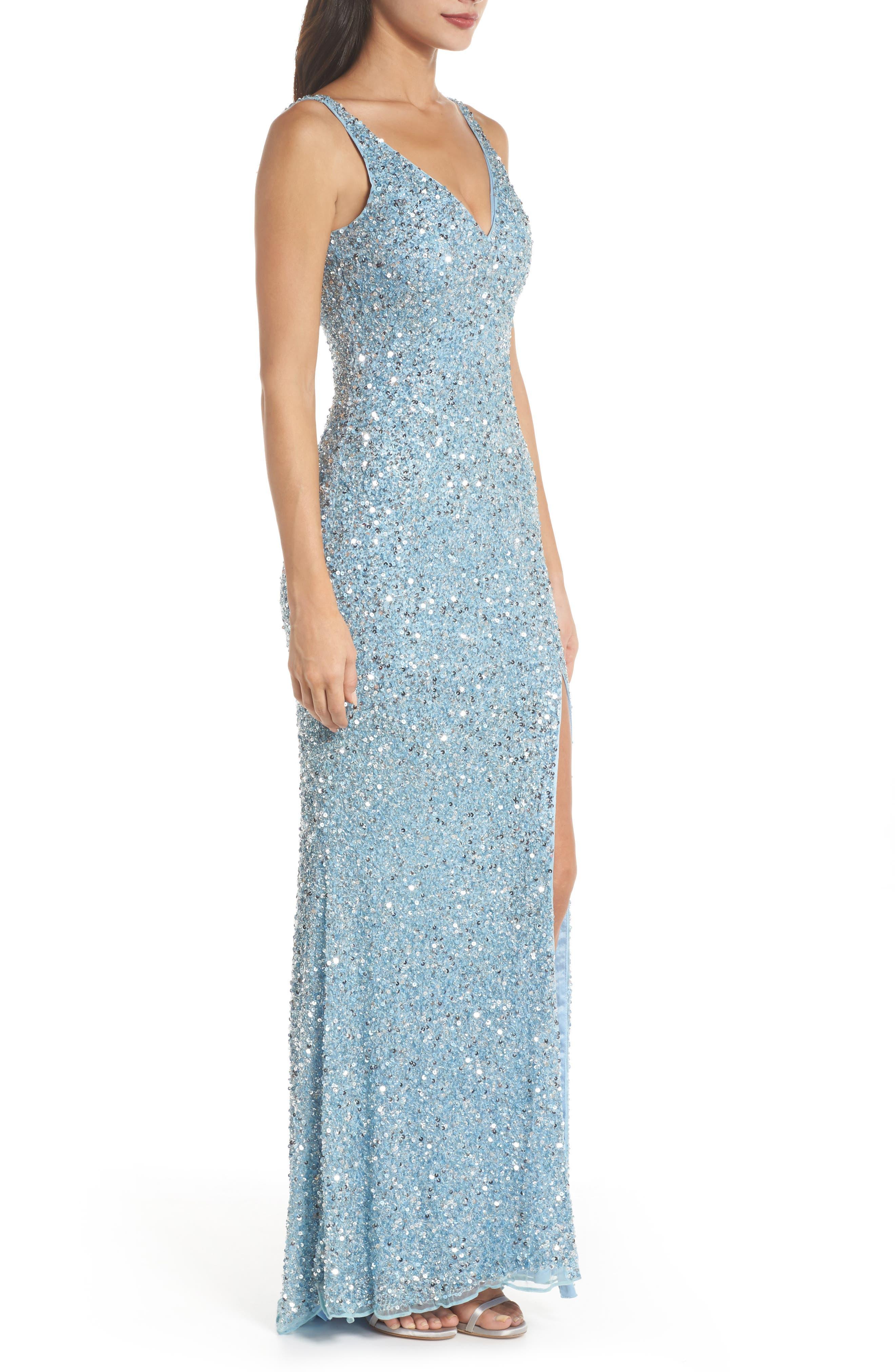 MAC DUGGAL, V-Neck Sequin Gown, Alternate thumbnail 3, color, POWDER BLUE
