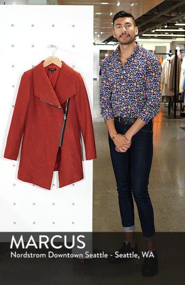 Asymmetrical Zip Boiled Wool Blend Coat, sales video thumbnail