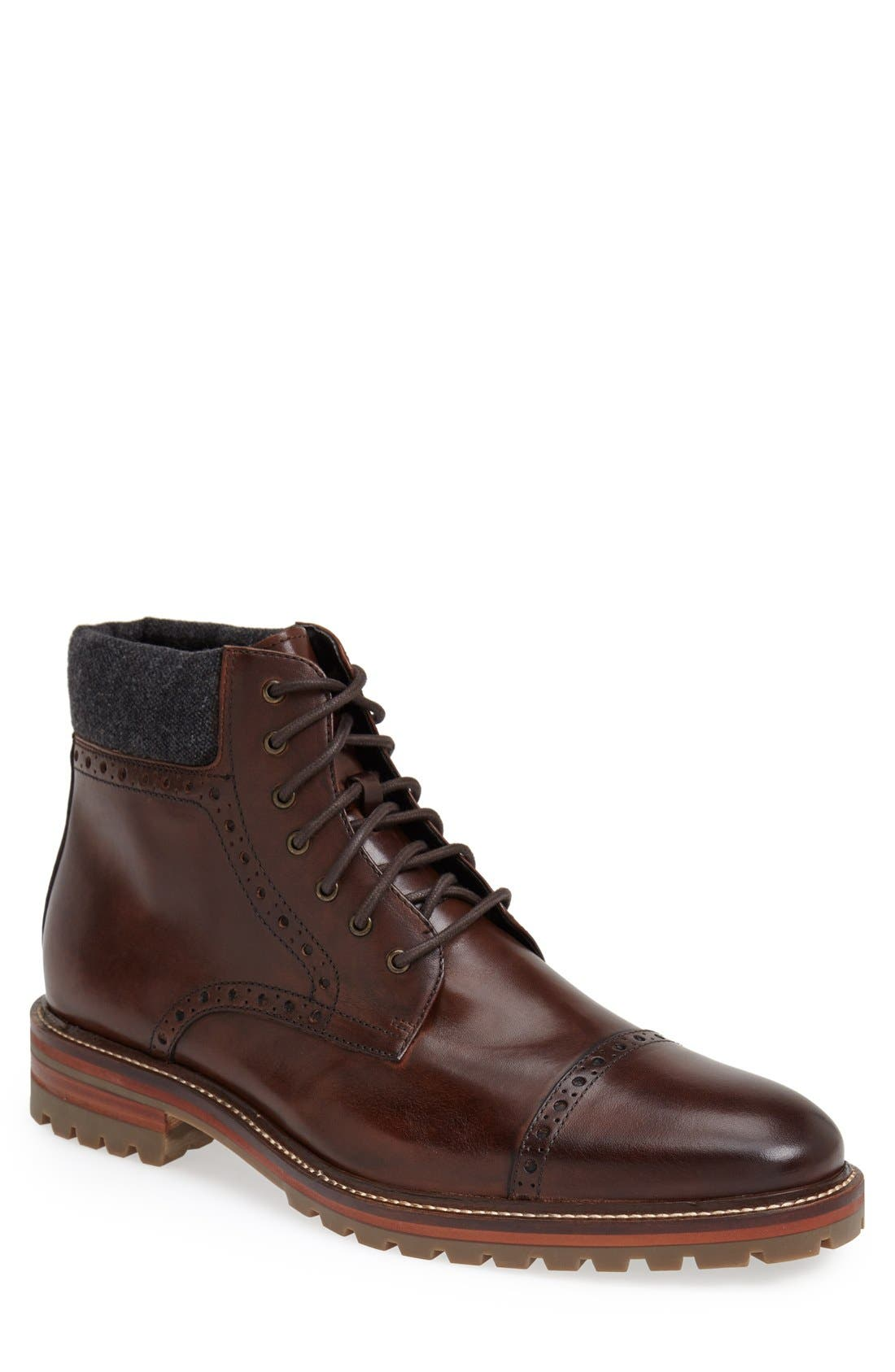 J&M 1850, 'Karnes' Brogue Cap Toe Boot, Main thumbnail 1, color, DARK BROWN LEATHER