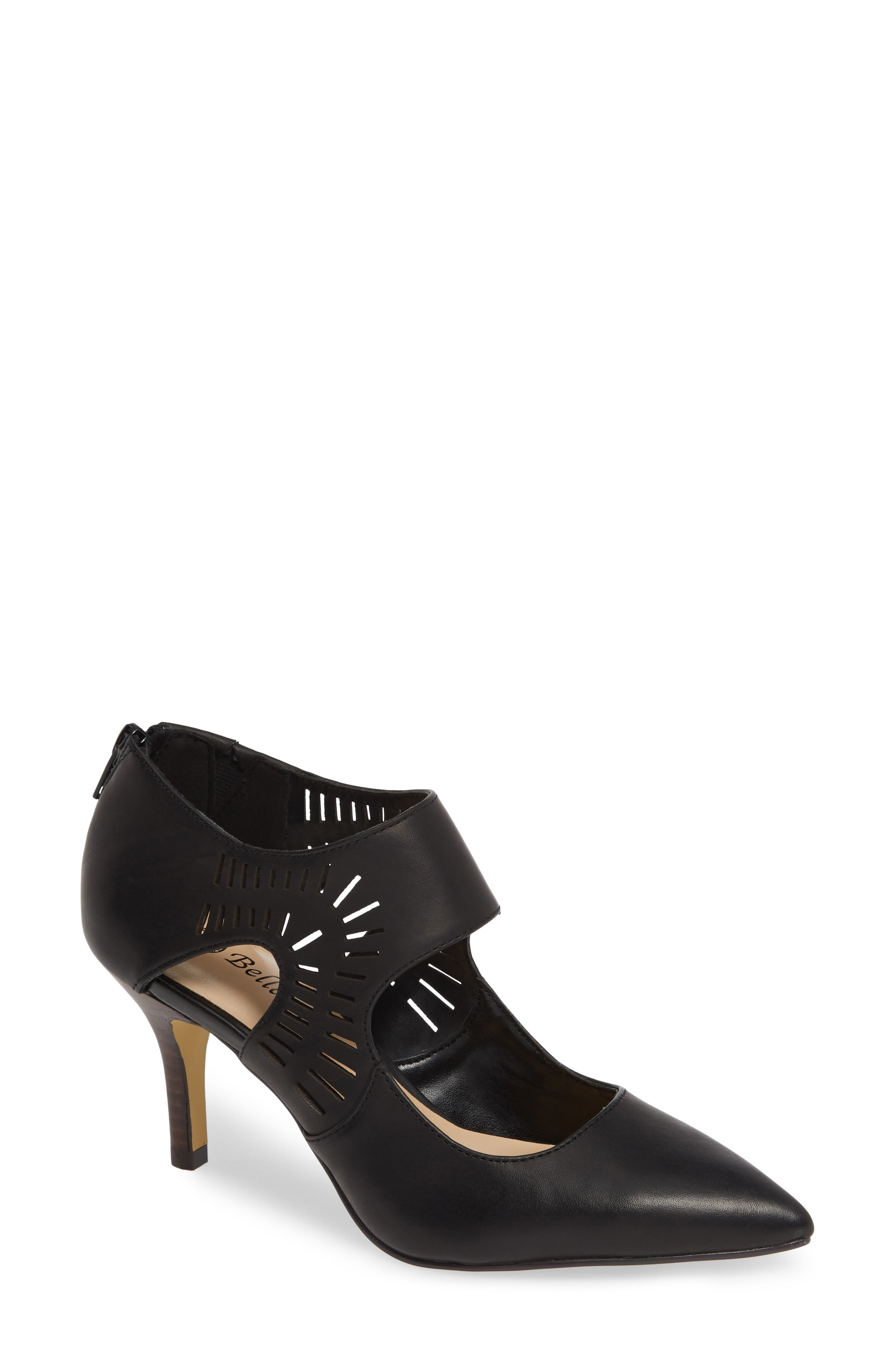 BELLA VITA, Dani Perforated Pump, Main thumbnail 1, color, BLACK LEATHER