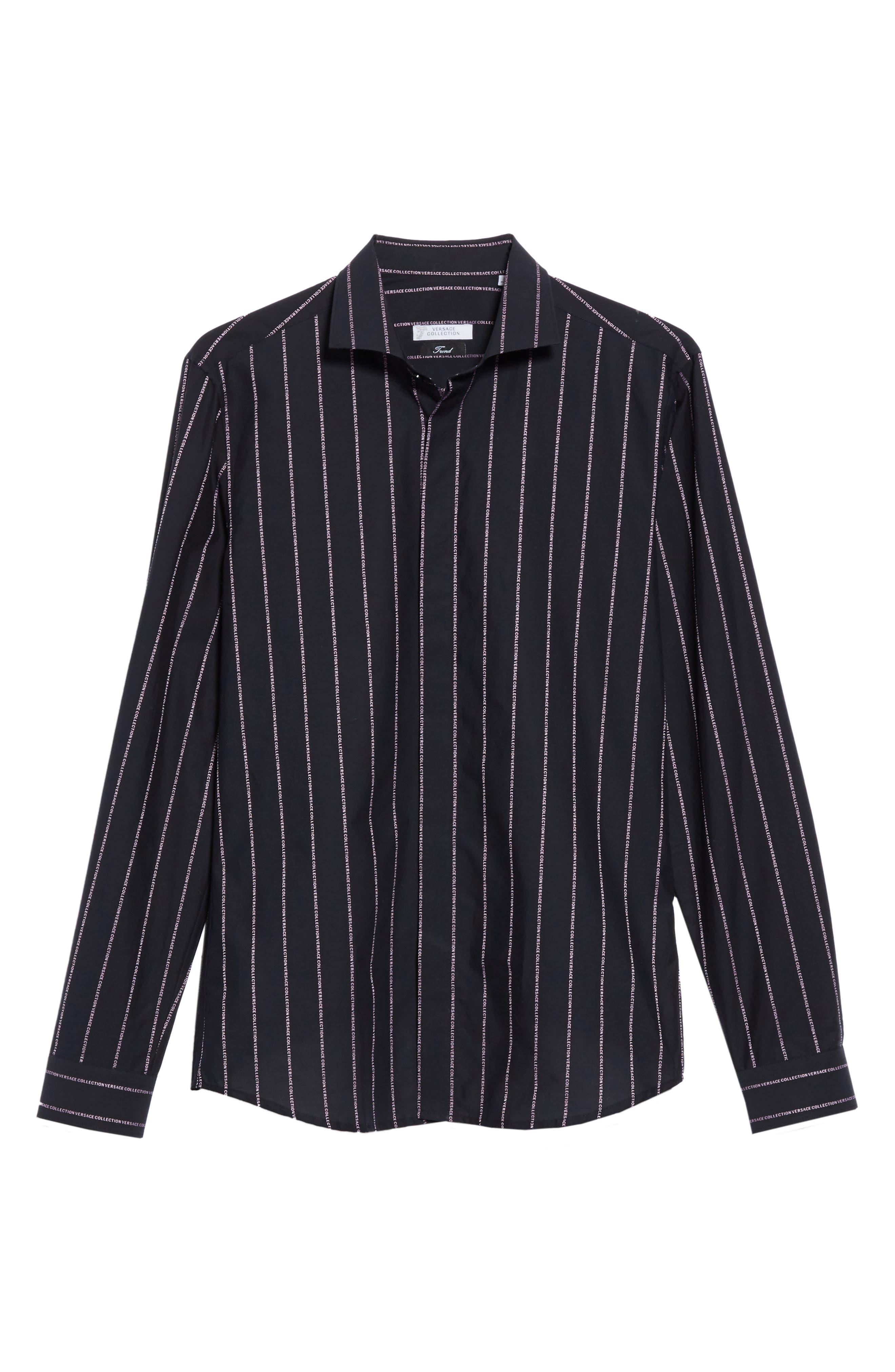 VERSACE COLLECTION, Logo Stripe Sport Shirt, Alternate thumbnail 5, color, BLACK/ PINK