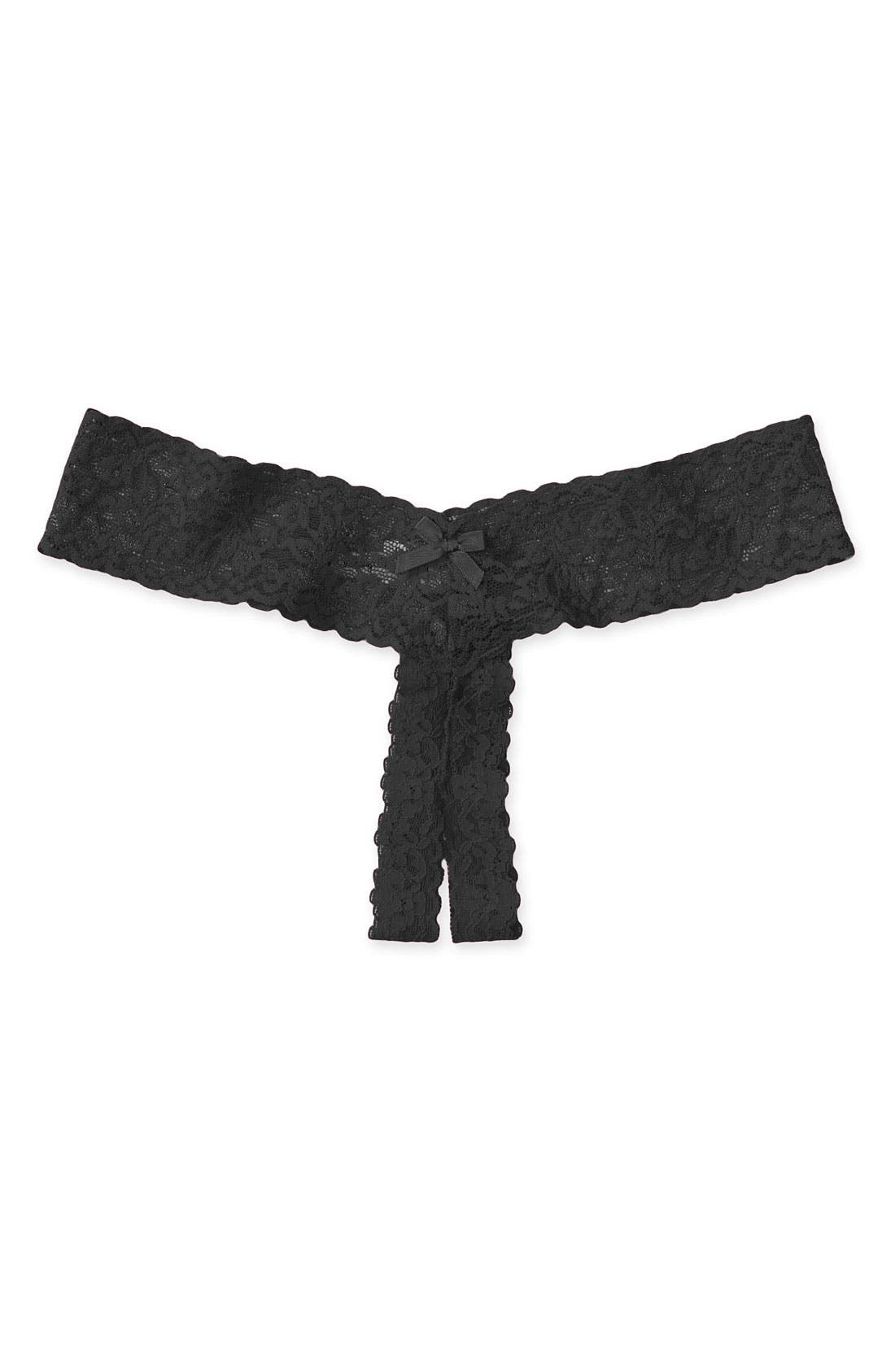 HANKY PANKY, Signature Lace Low Rise Thong, Main thumbnail 1, color, BLACK