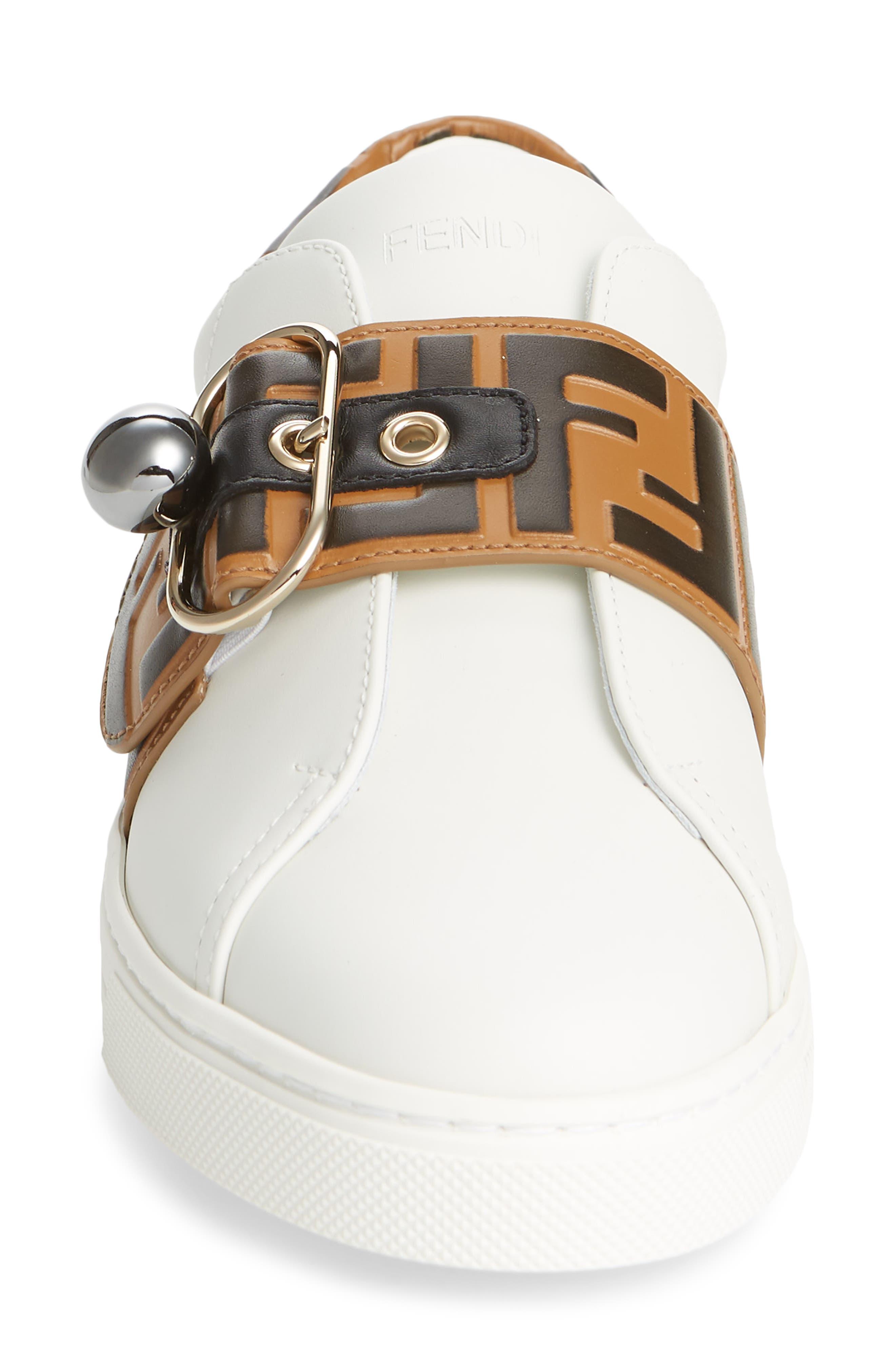 FENDI, Pearland Logo Slip-On Sneaker, Alternate thumbnail 4, color, WHITE/ BROWN
