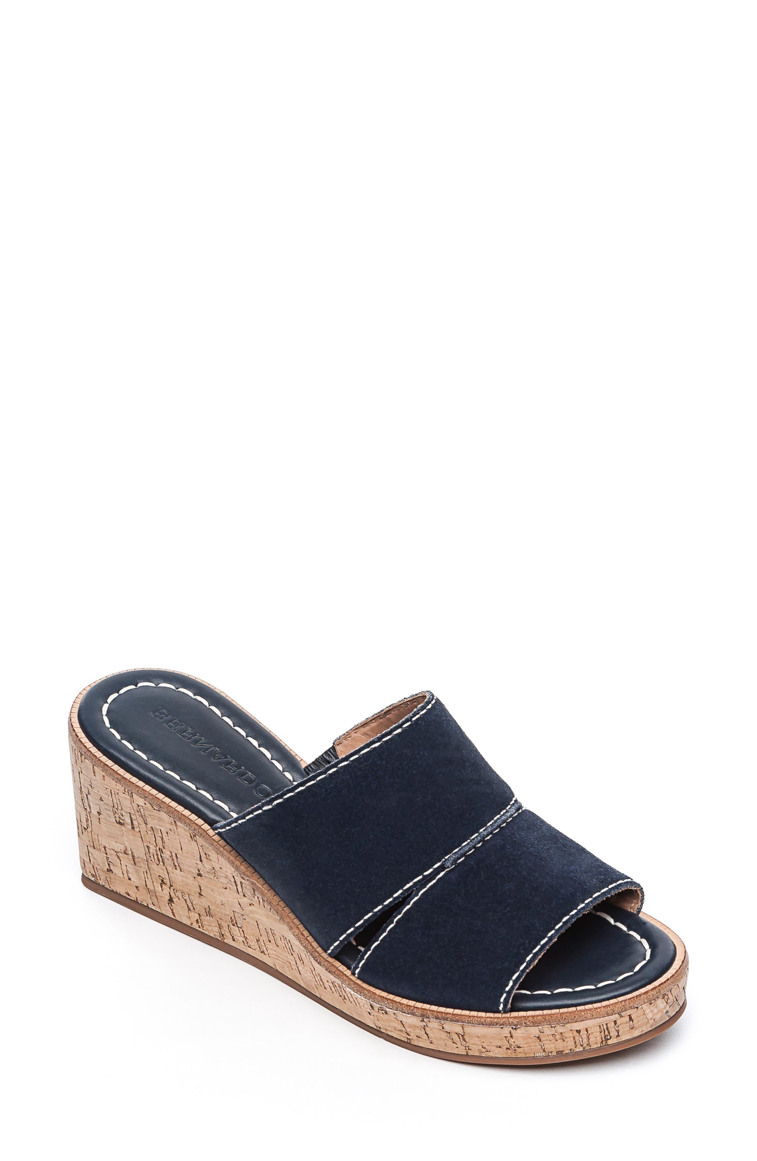 BERNARDO Kami Platform Wedge Slide Sandal, Main, color, NAVY SUEDE