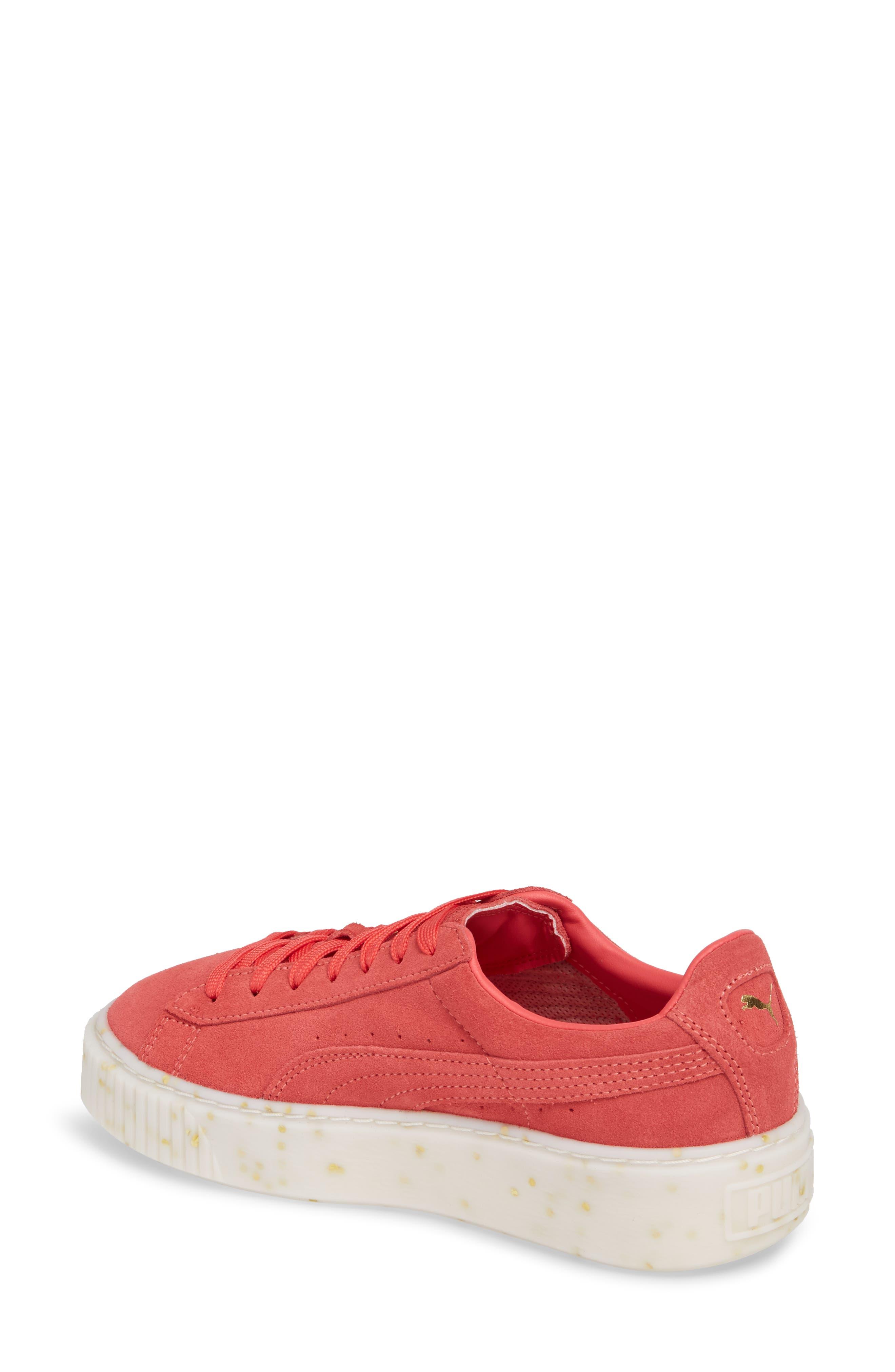 PUMA, Suede Platform Sneaker, Alternate thumbnail 2, color, PARADISE PINK/ TEAM GOLD