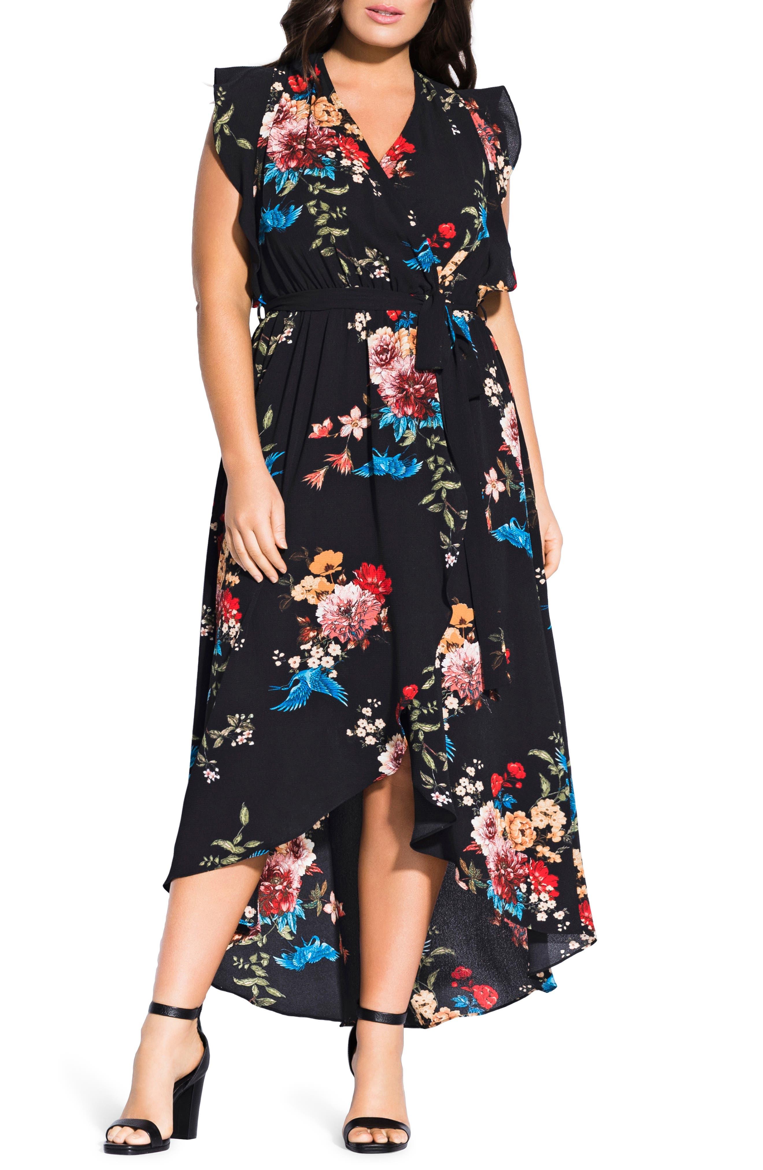 Plus Size City Chic Avery Floral Faux Wrap Maxi Dress, Black