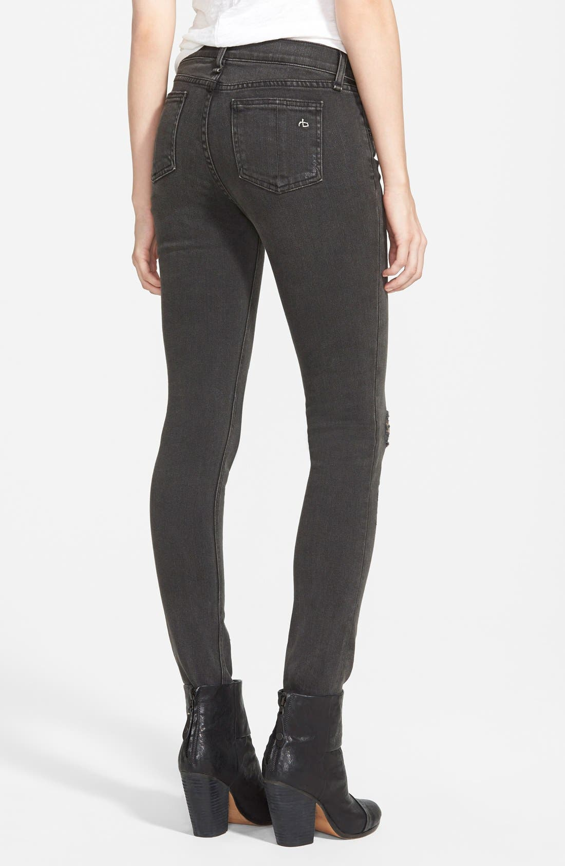 RAG & BONE, JEAN Shredded Skinny Jeans, Alternate thumbnail 4, color, 001