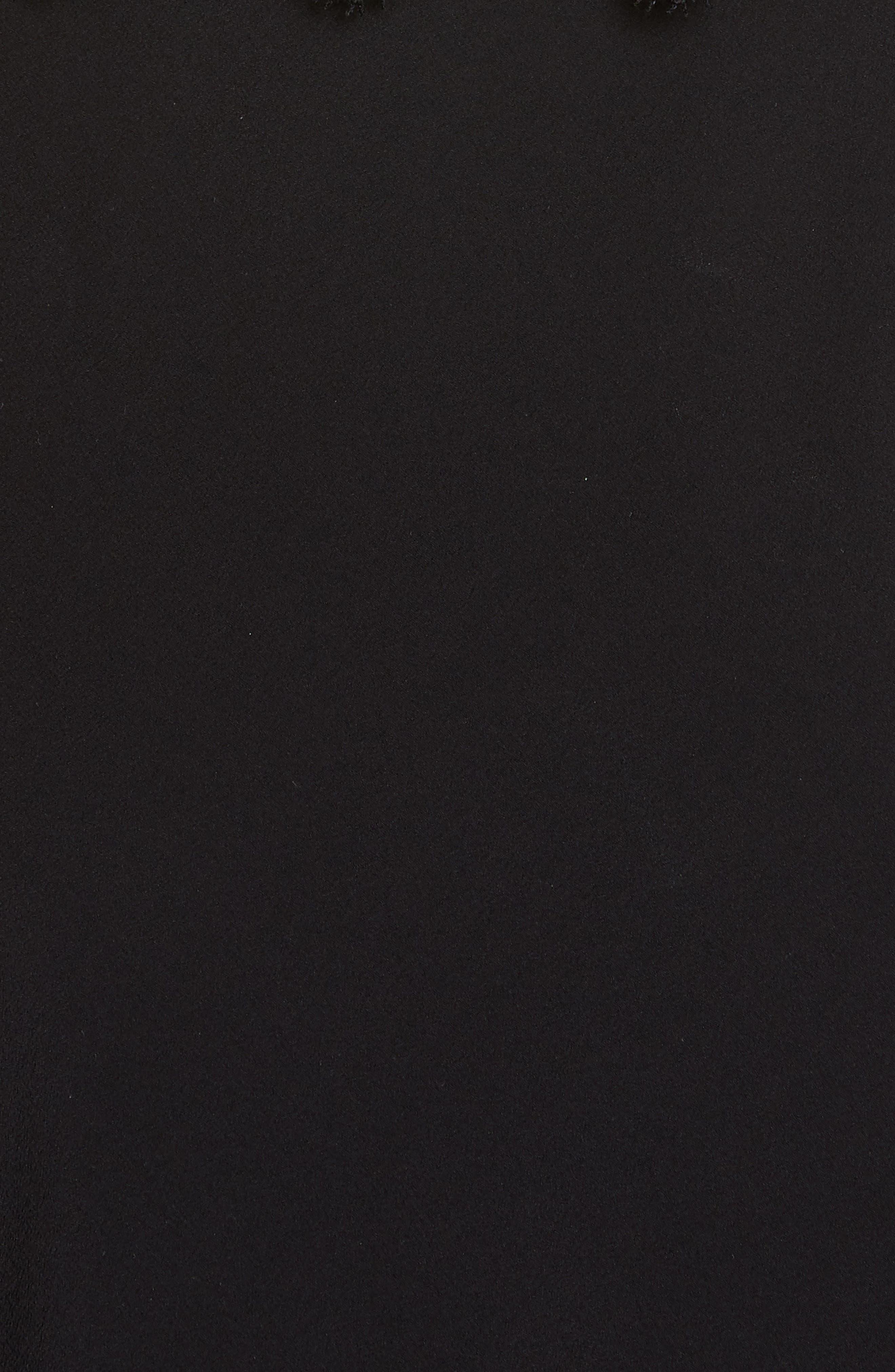 VICTORIA BECKHAM, Mixed Lace Trim High/Low Silk Dress, Alternate thumbnail 7, color, BLACK