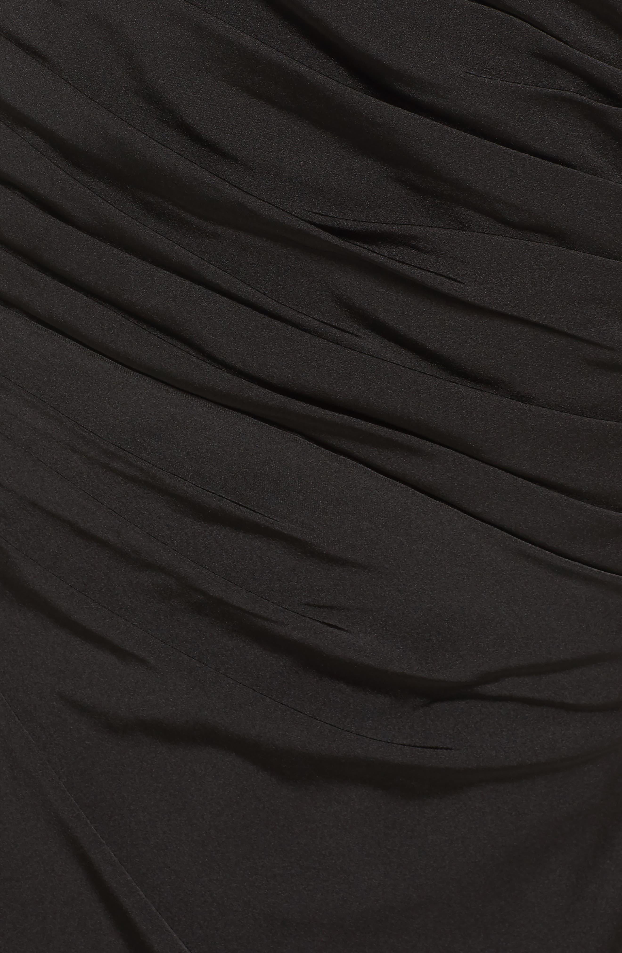 LA FEMME, Sheer Sleeve Gown, Alternate thumbnail 5, color, BLACK