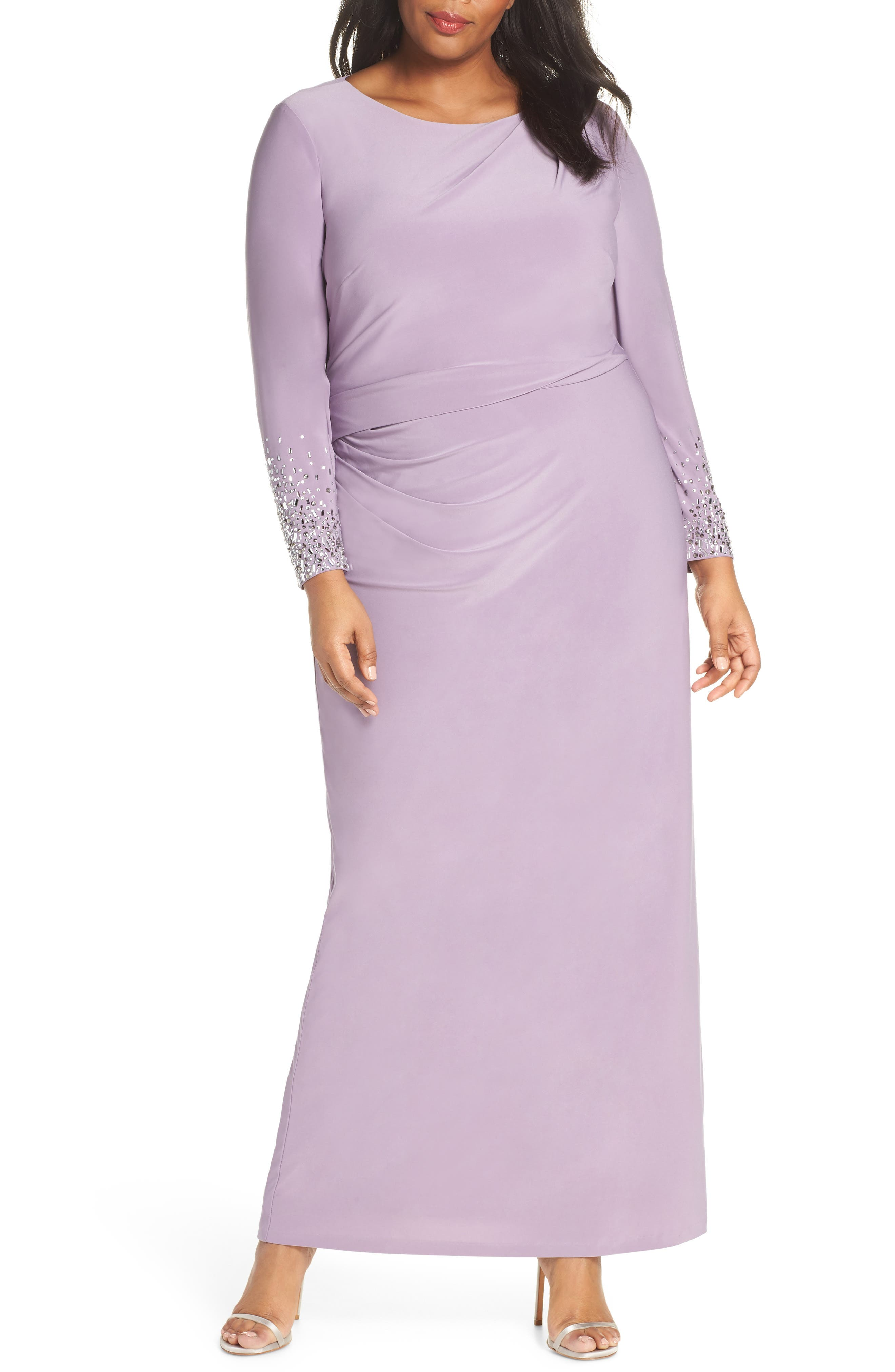 Plus Size Vince Camuto Embellished Sleeve Ruched Evening Dress, Purple