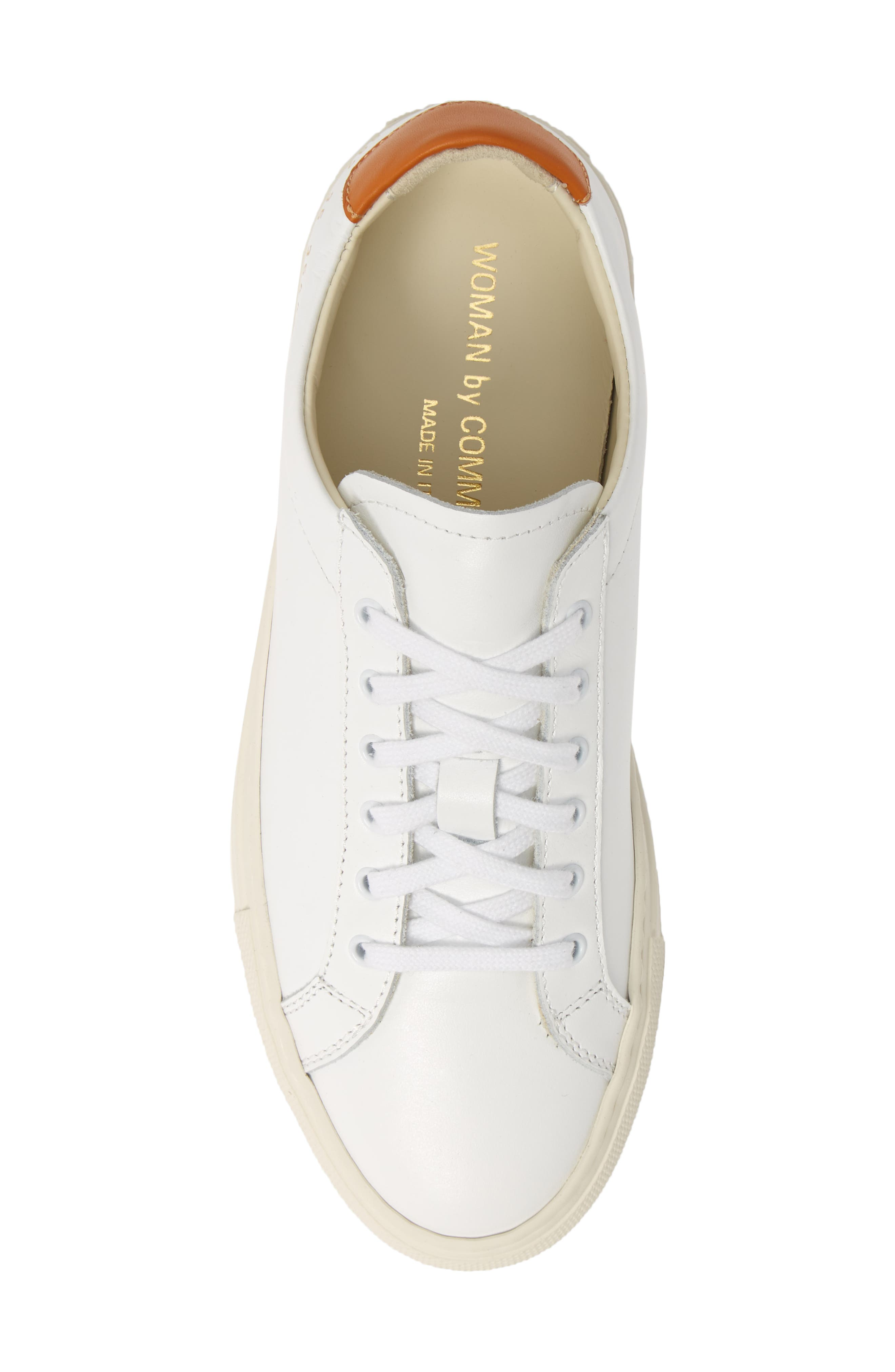 COMMON PROJECTS, Retro Low Top Sneaker, Alternate thumbnail 5, color, WHITE/ BROWN