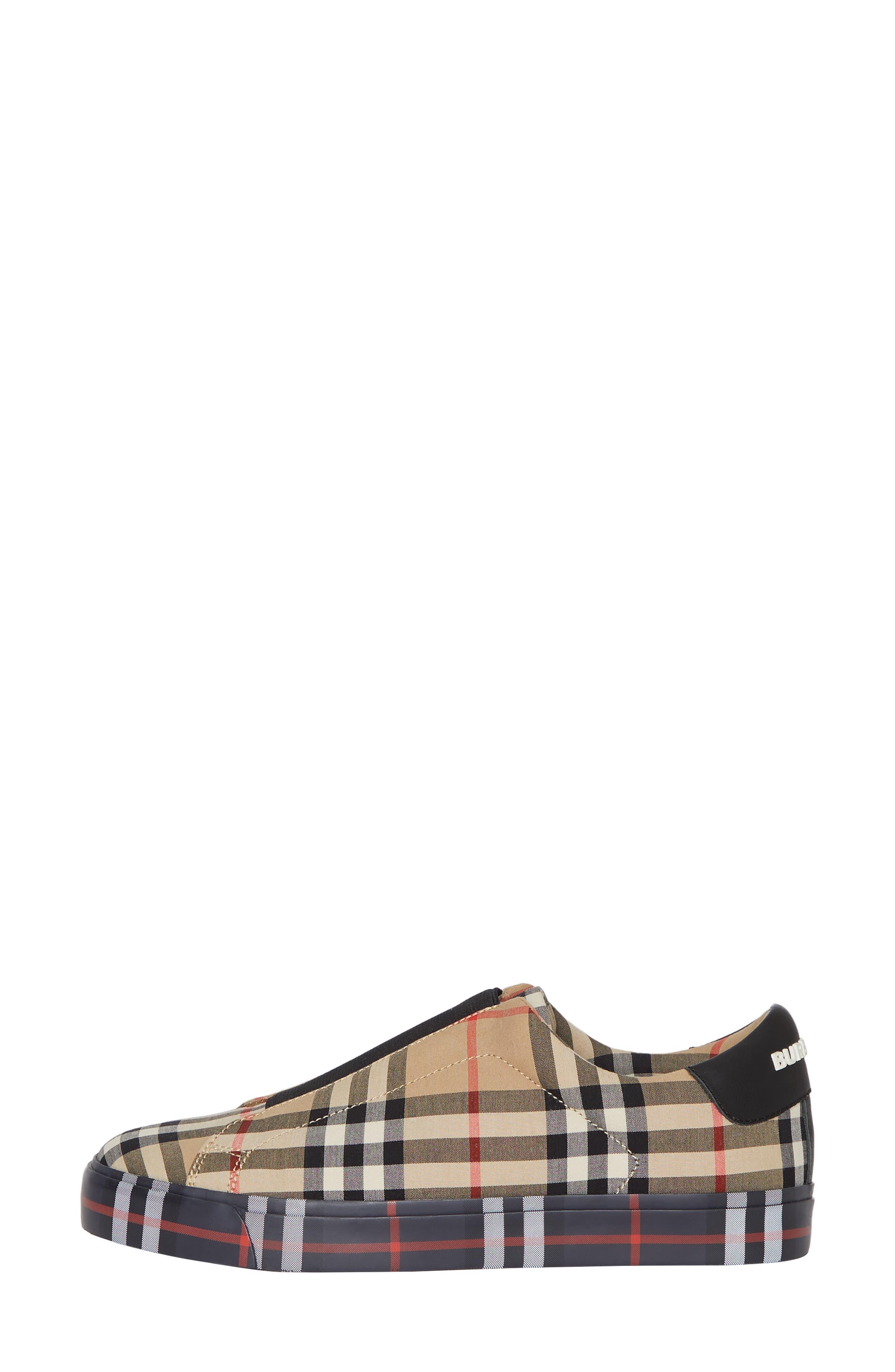 BURBERRY, Markham Vintage Check Slip-On Sneaker, Alternate thumbnail 9, color, BEIGE PLAID