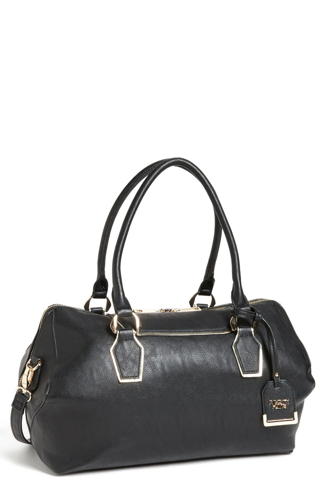 POVERTY FLATS BY RIAN Faux Leather Satchel, Main, color, 001