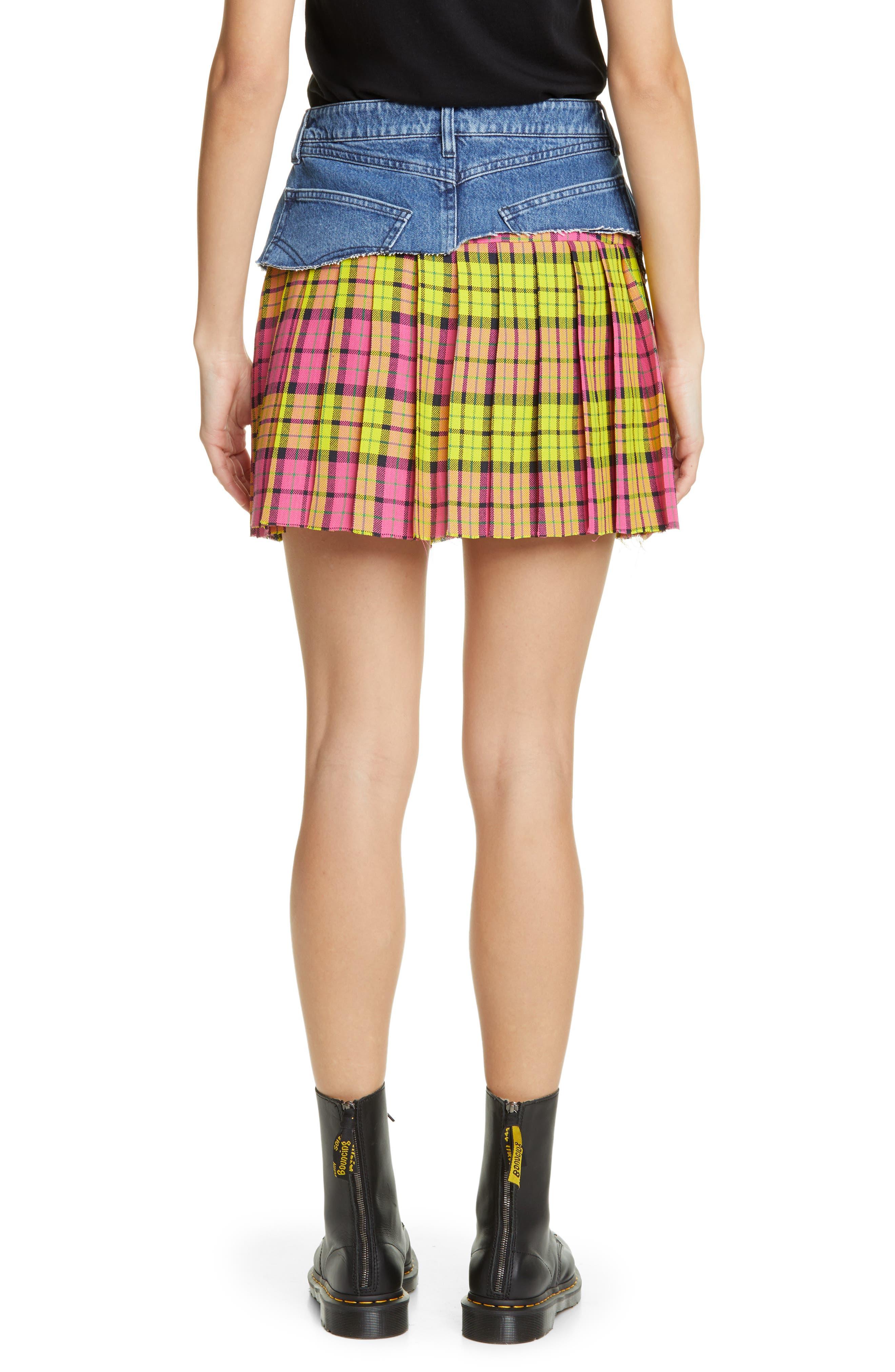 VETEMENTS, Schoolgirl Skirt, Alternate thumbnail 2, color, BLUE