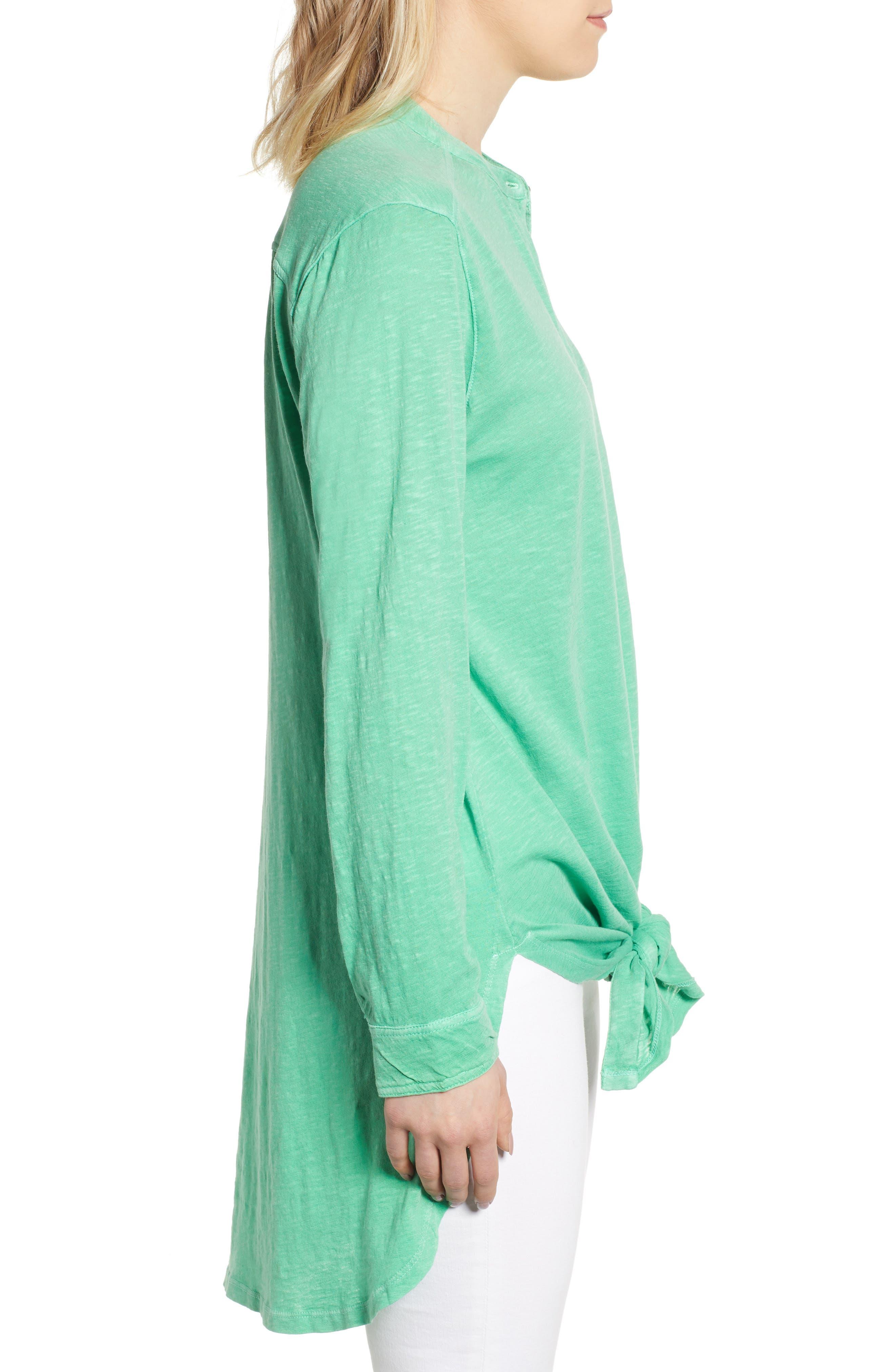 CASLON<SUP>®</SUP>, Button Down Knit Tunic, Alternate thumbnail 3, color, GREEN KATYDID