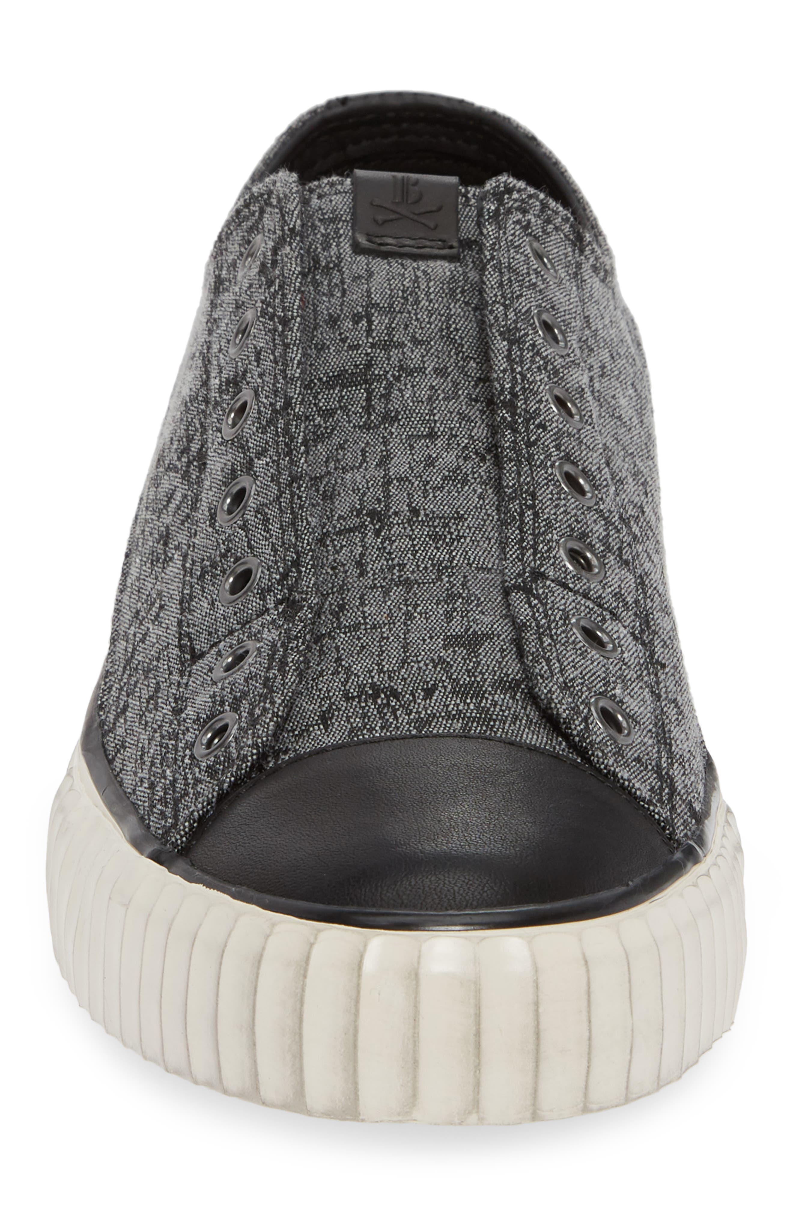 BOOTLEG BY JOHN VARVATOS, John Varvatos Star USA Bootleg Laceless Sneaker, Alternate thumbnail 4, color, STONE GREY CANVAS