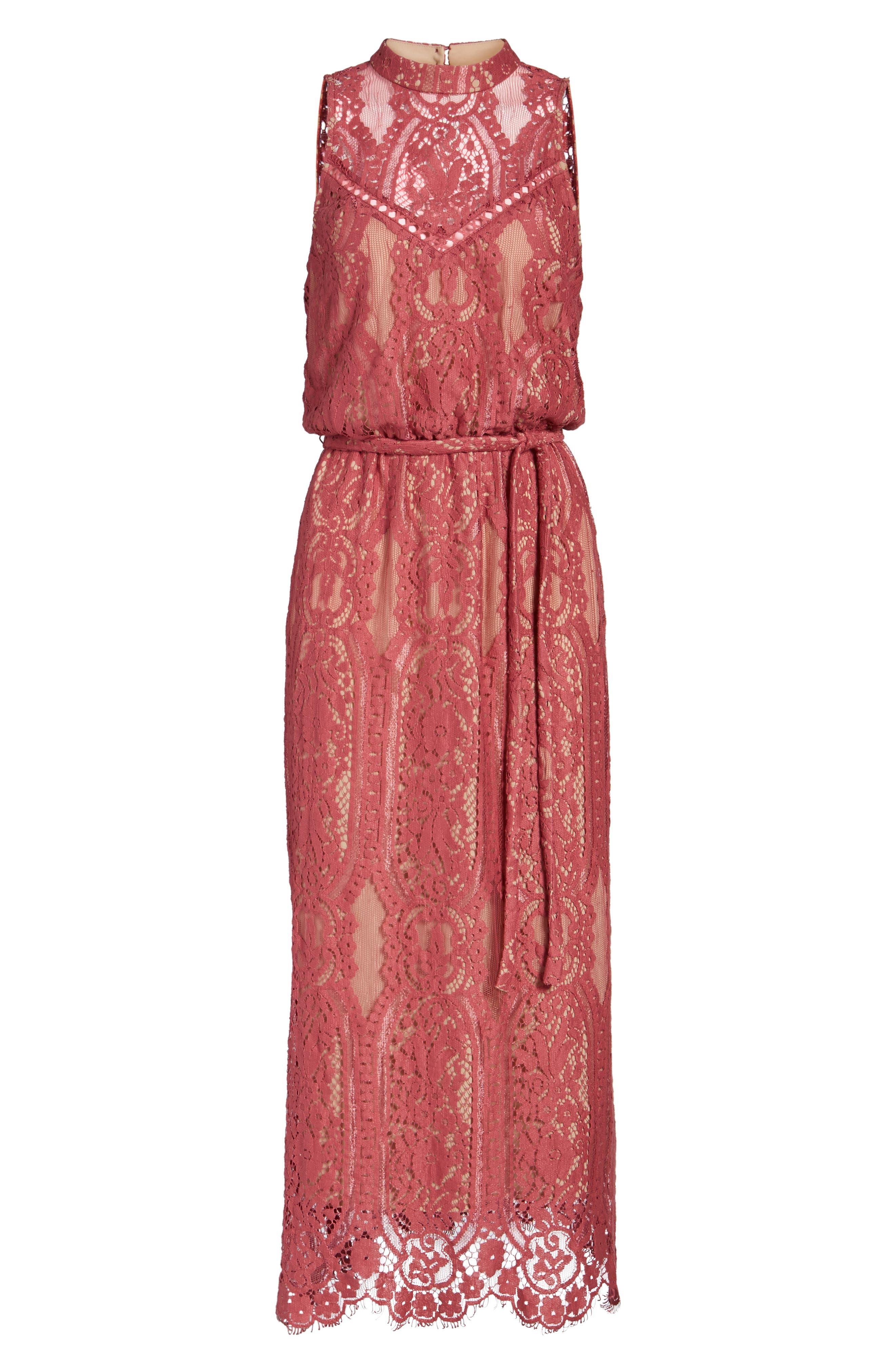 WAYF, 'Portrait' Lace Midi Dress, Alternate thumbnail 6, color, 650