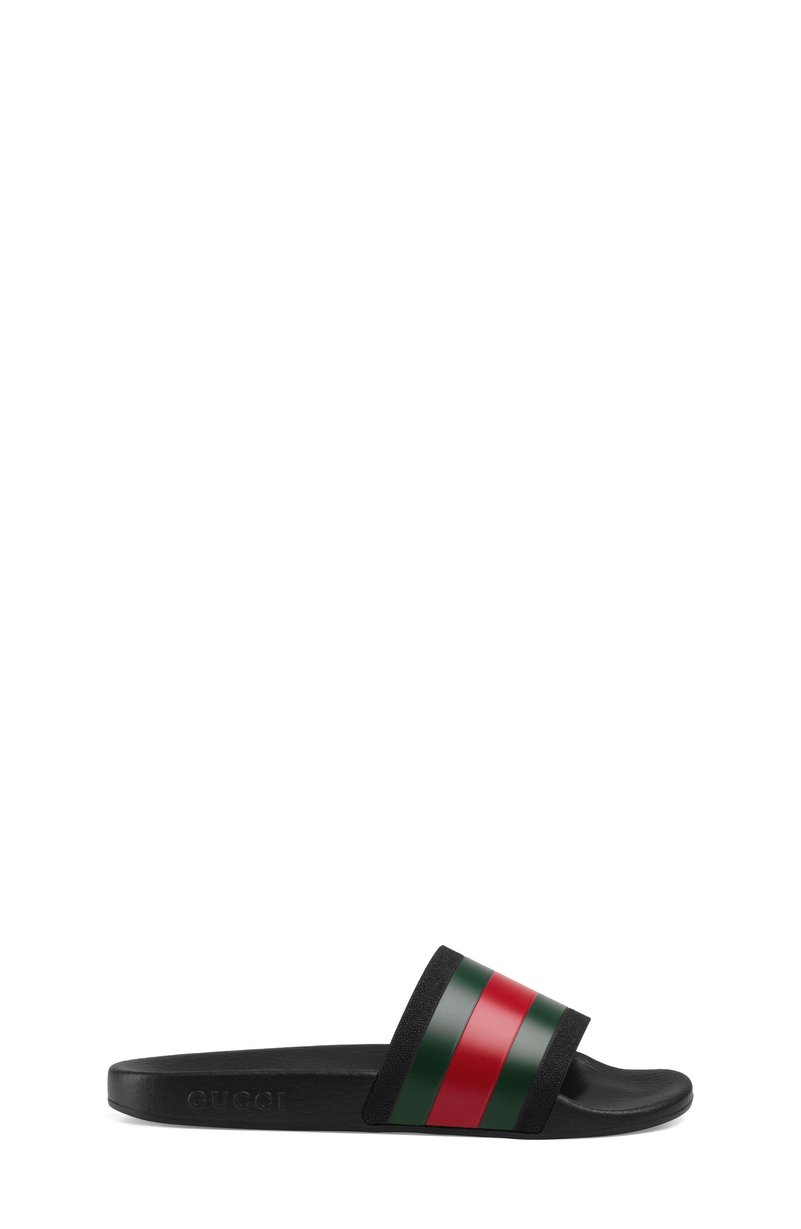 GUCCI, Pursuit Slide Sandal, Alternate thumbnail 3, color, BLACK/ GREEN/ RED