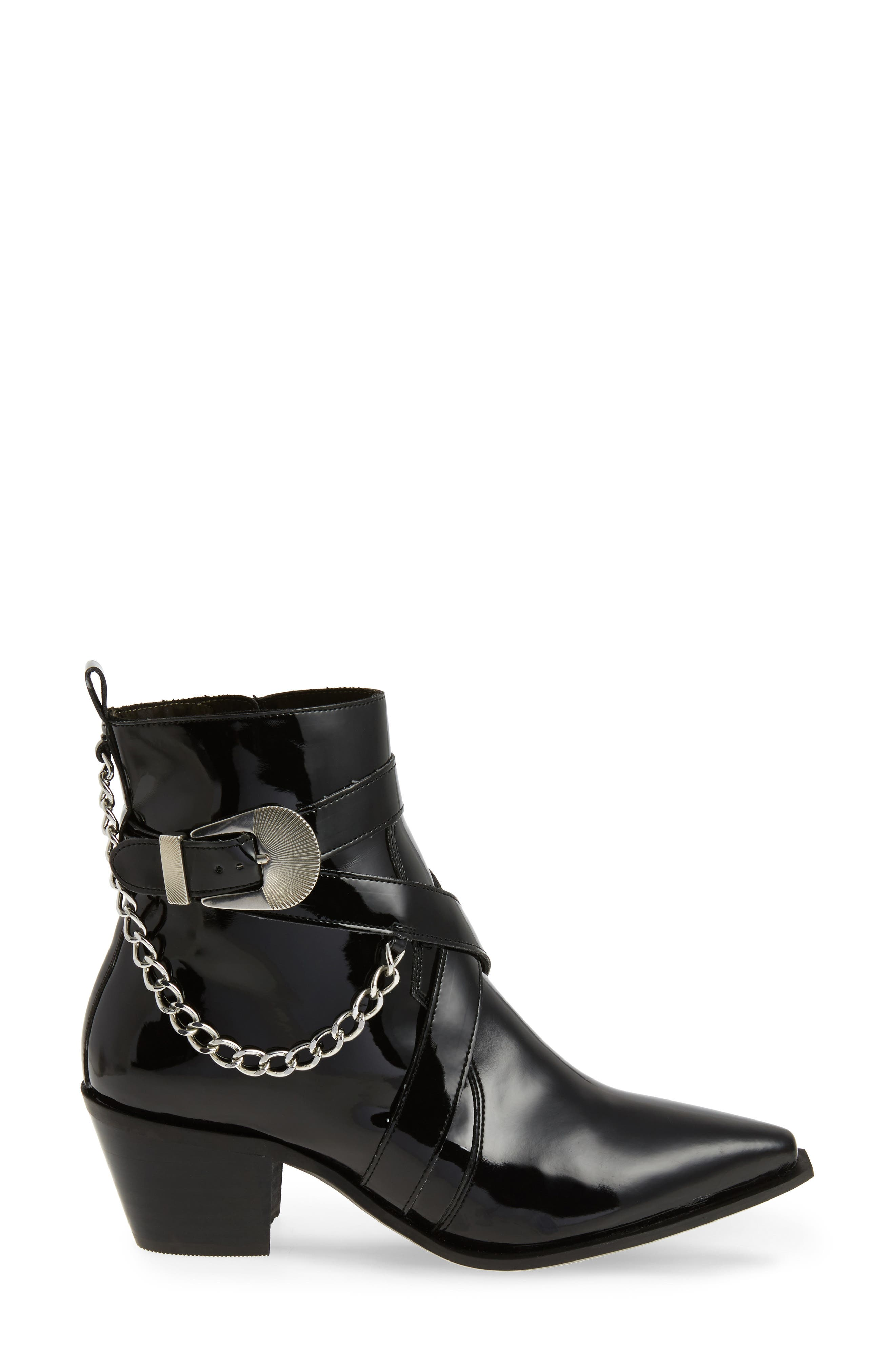 TOPSHOP, Move It Western Boot, Alternate thumbnail 3, color, 001