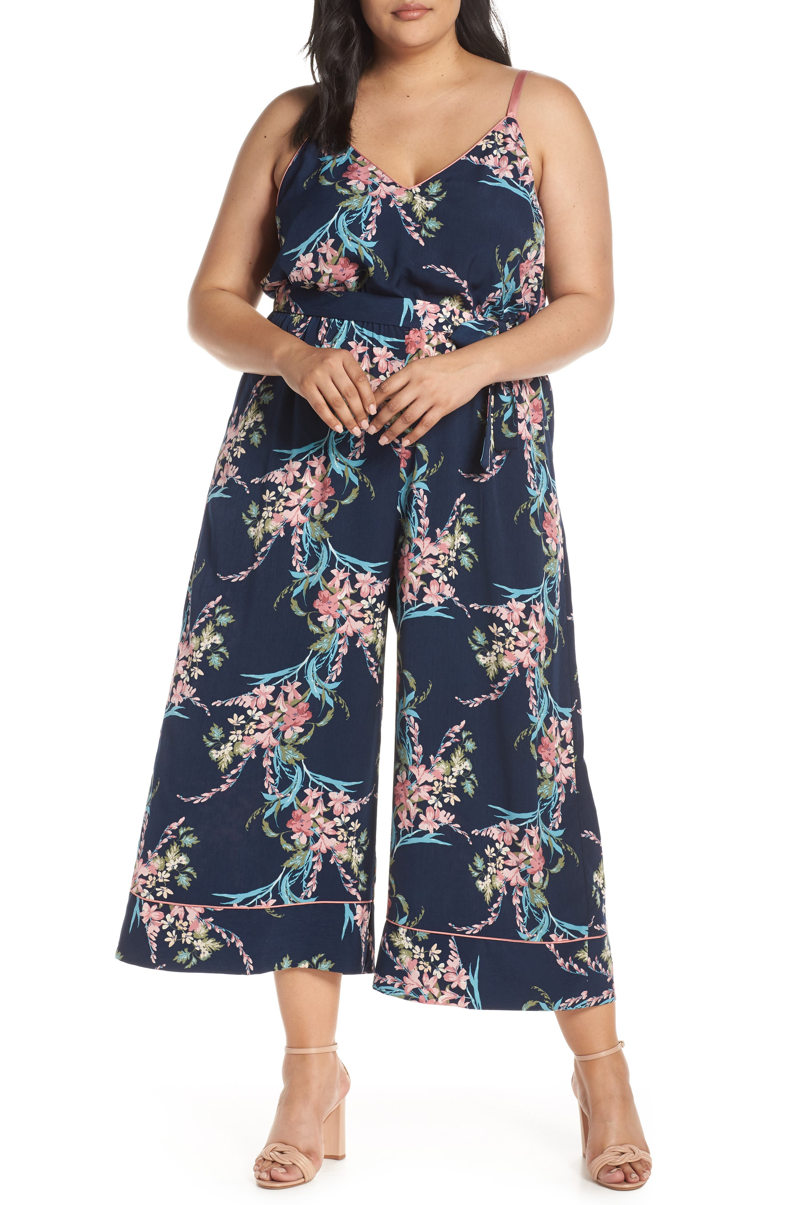 LEITH, Piped Cami Jumpsuit, Alternate thumbnail 2, color, NAVY PEACOAT FEM FLORAL
