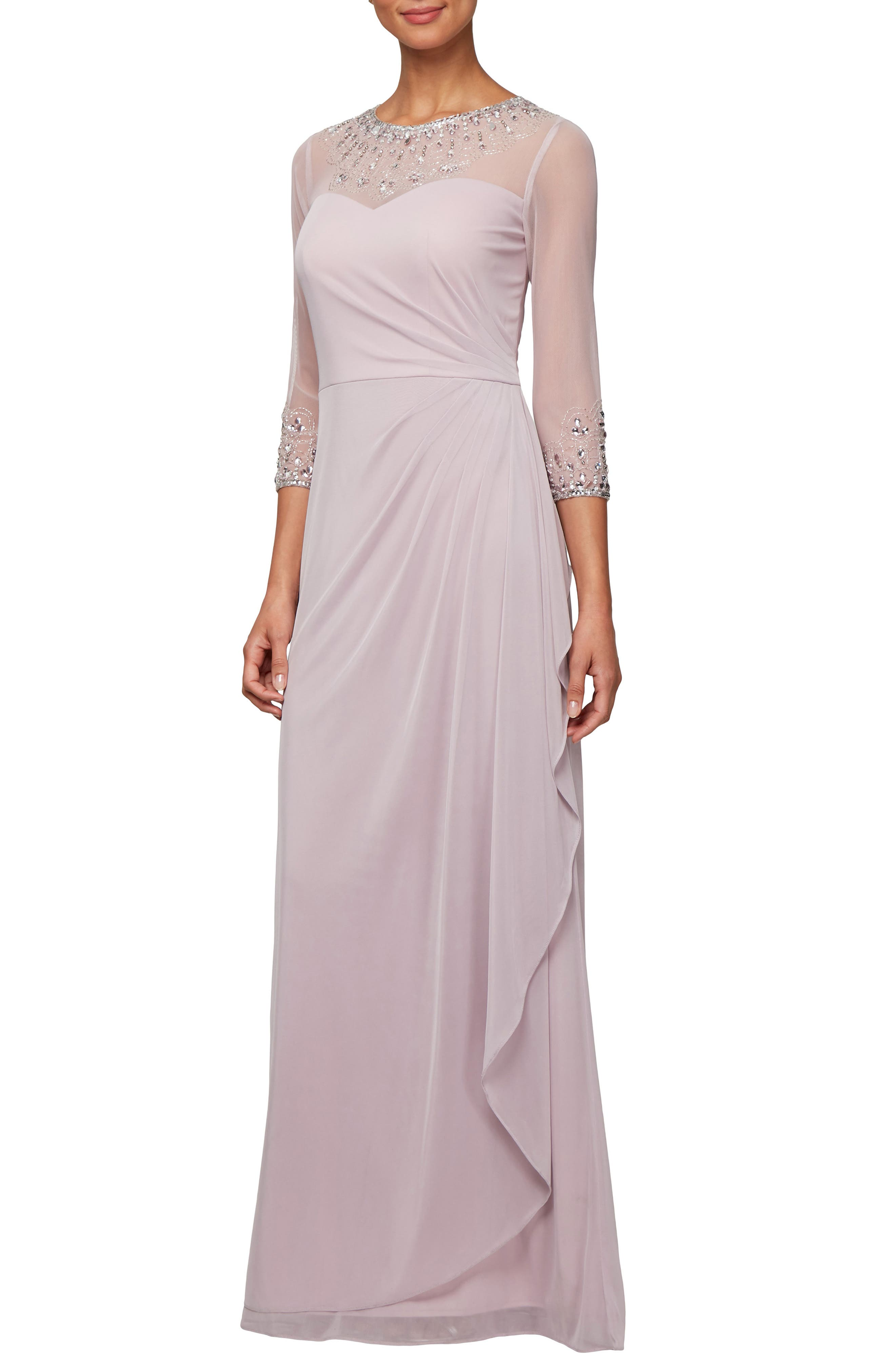 ALEX EVENINGS Embellished A-Line Gown, Main, color, SMOKEY ORCHID