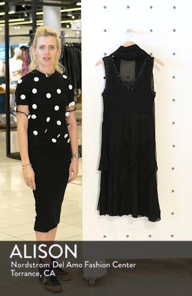 Bead Trim Chiffon Dress with Wrap, sales video thumbnail