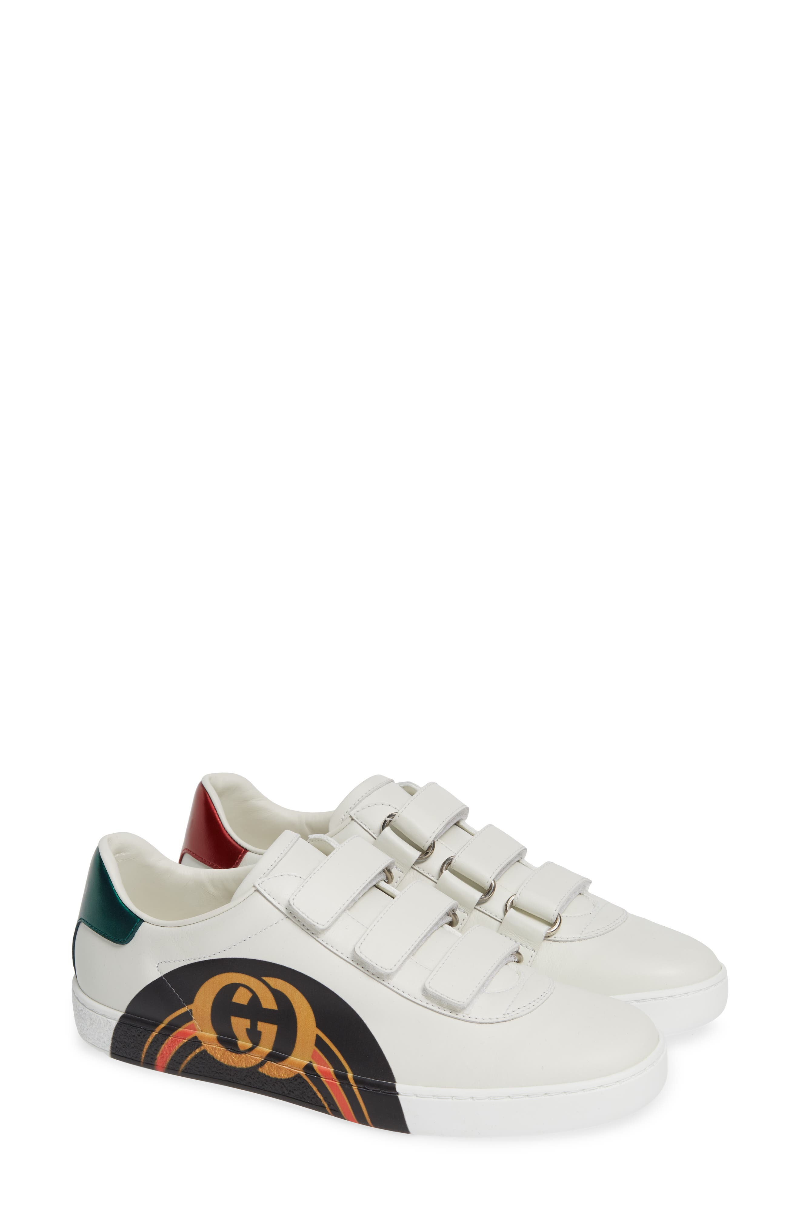 GUCCI, New Ace Sneaker, Main thumbnail 1, color, WHITE