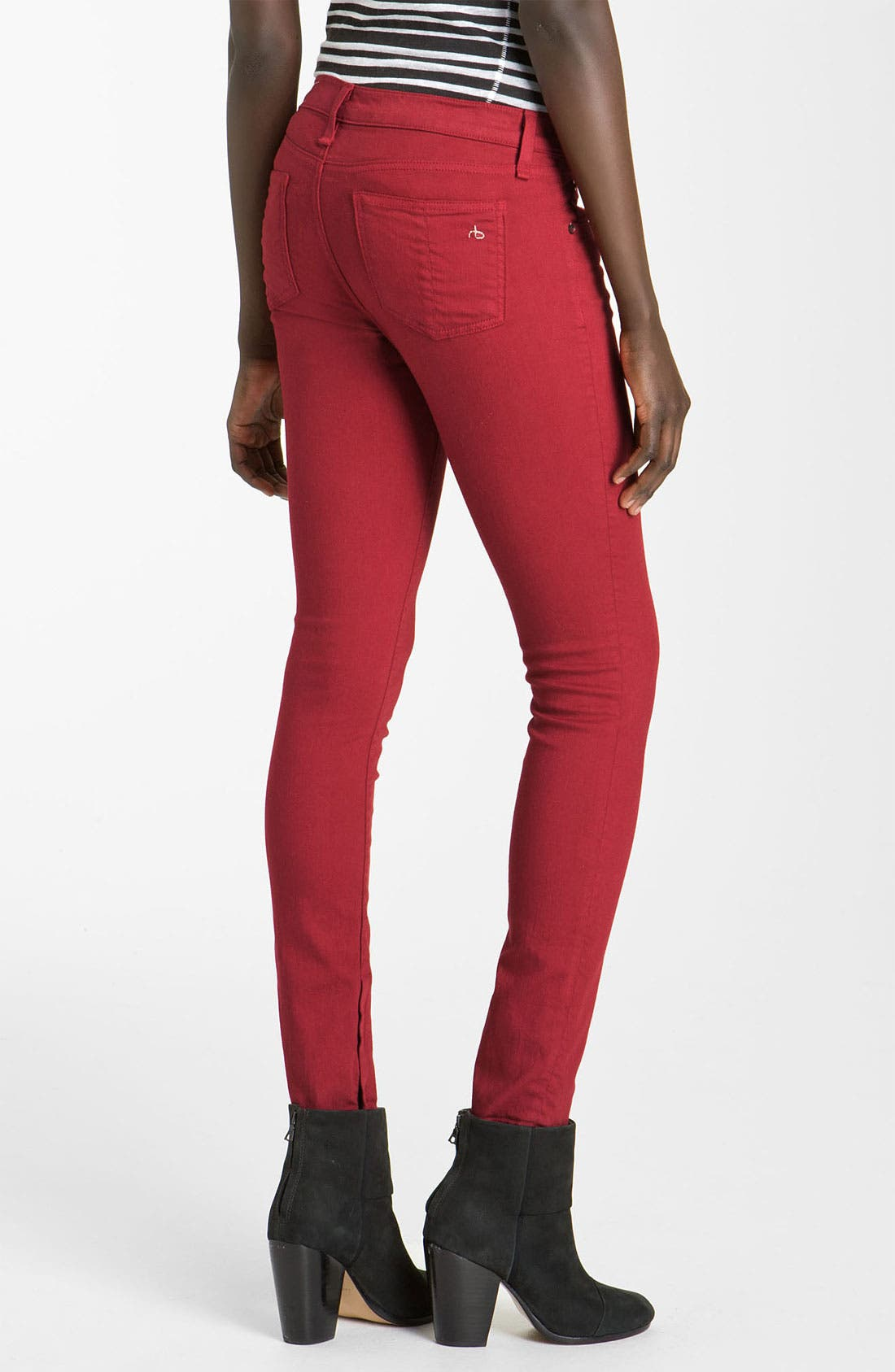 RAG & BONE, JEAN Skinny Zip Detail Stretch Jeans, Alternate thumbnail 3, color, 600