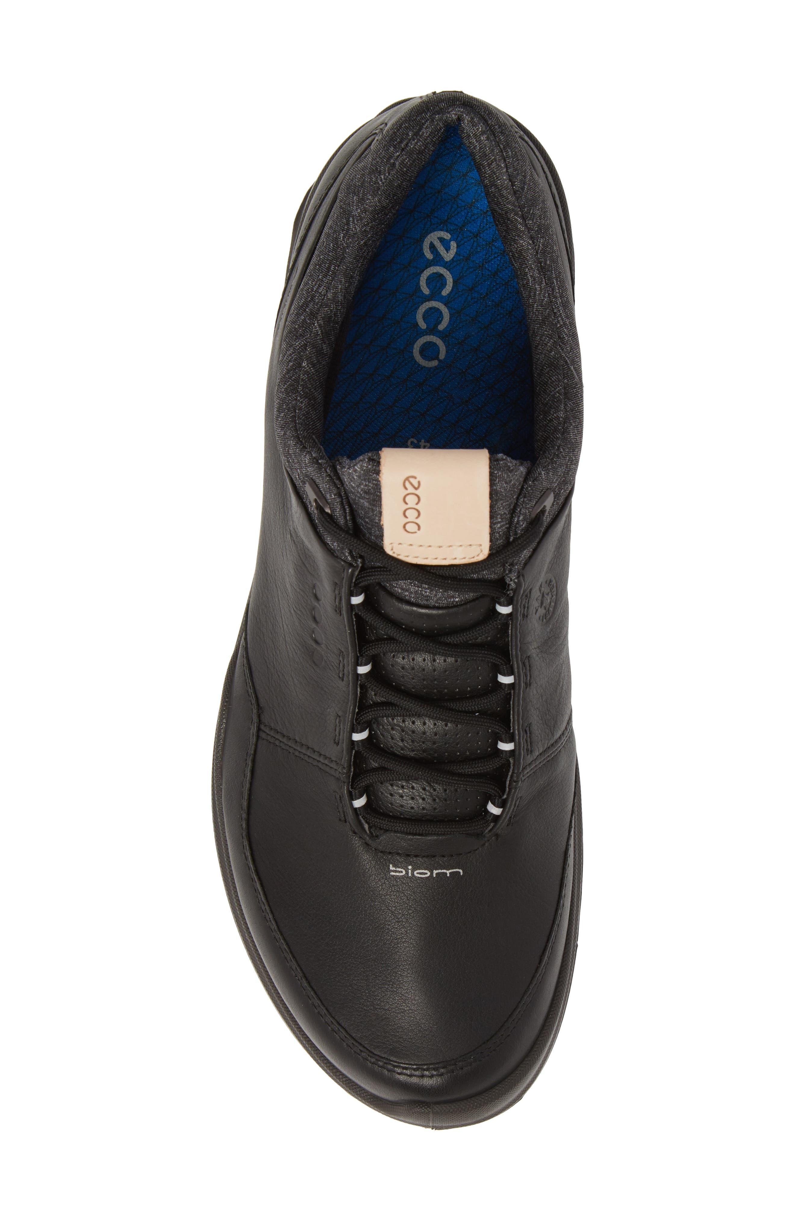 ECCO, BIOM Hybrid 3 Gore-Tex<sup>®</sup> Golf Shoe, Alternate thumbnail 5, color, BLACK/ BERMUDA BLUE LEATHER