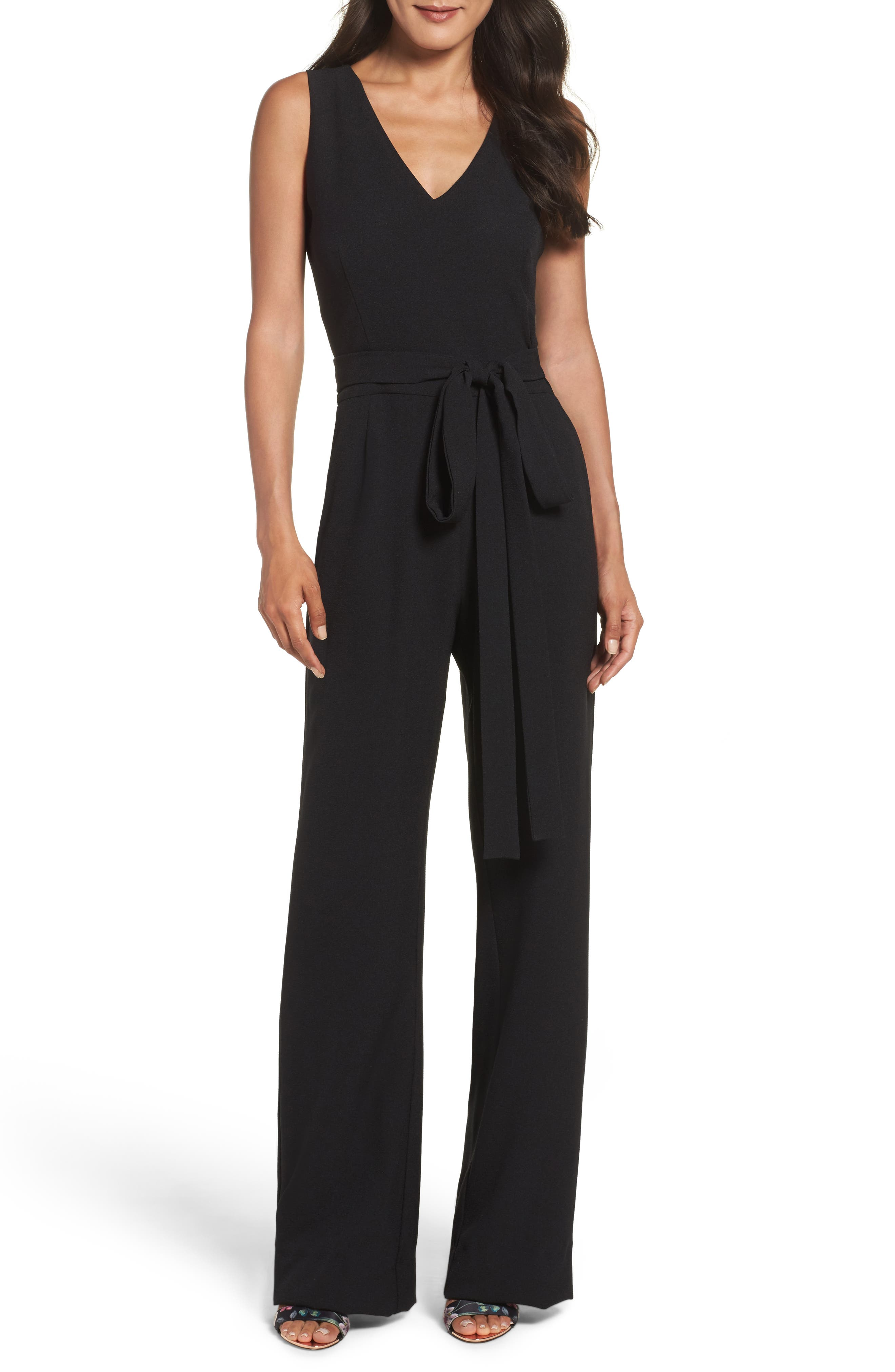 VINCE CAMUTO, Tie Front Wide Leg Jumpsuit, Main thumbnail 1, color, BLACK