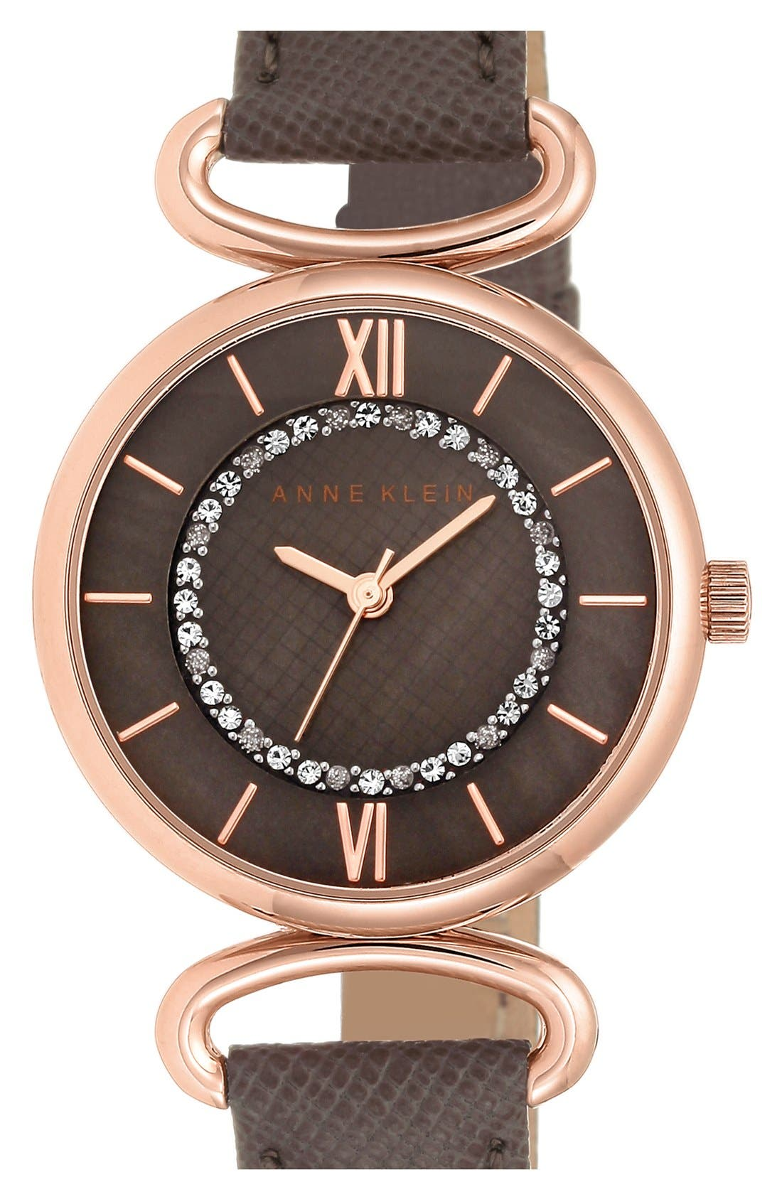 ANNE KLEIN, Leather Strap Watch, 32mm, Main thumbnail 1, color, 250