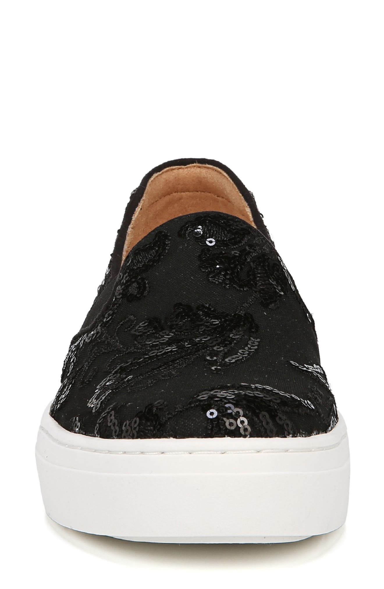 NATURALIZER, Carly Slip-On Sneaker, Alternate thumbnail 4, color, BLACK EMBROIDERED LACE