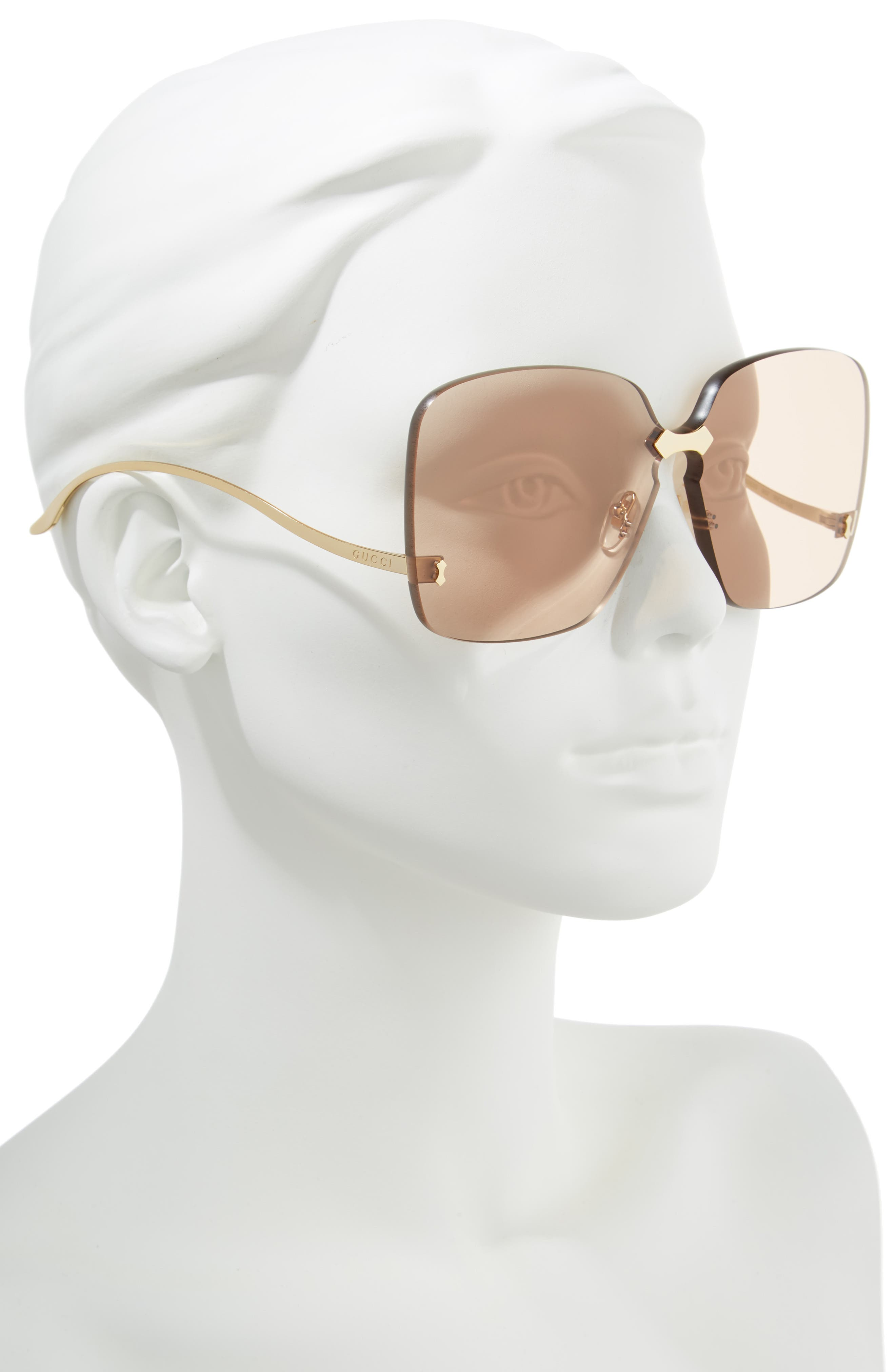 GUCCI, 99mm Rimless Sunglasses, Alternate thumbnail 2, color, 710