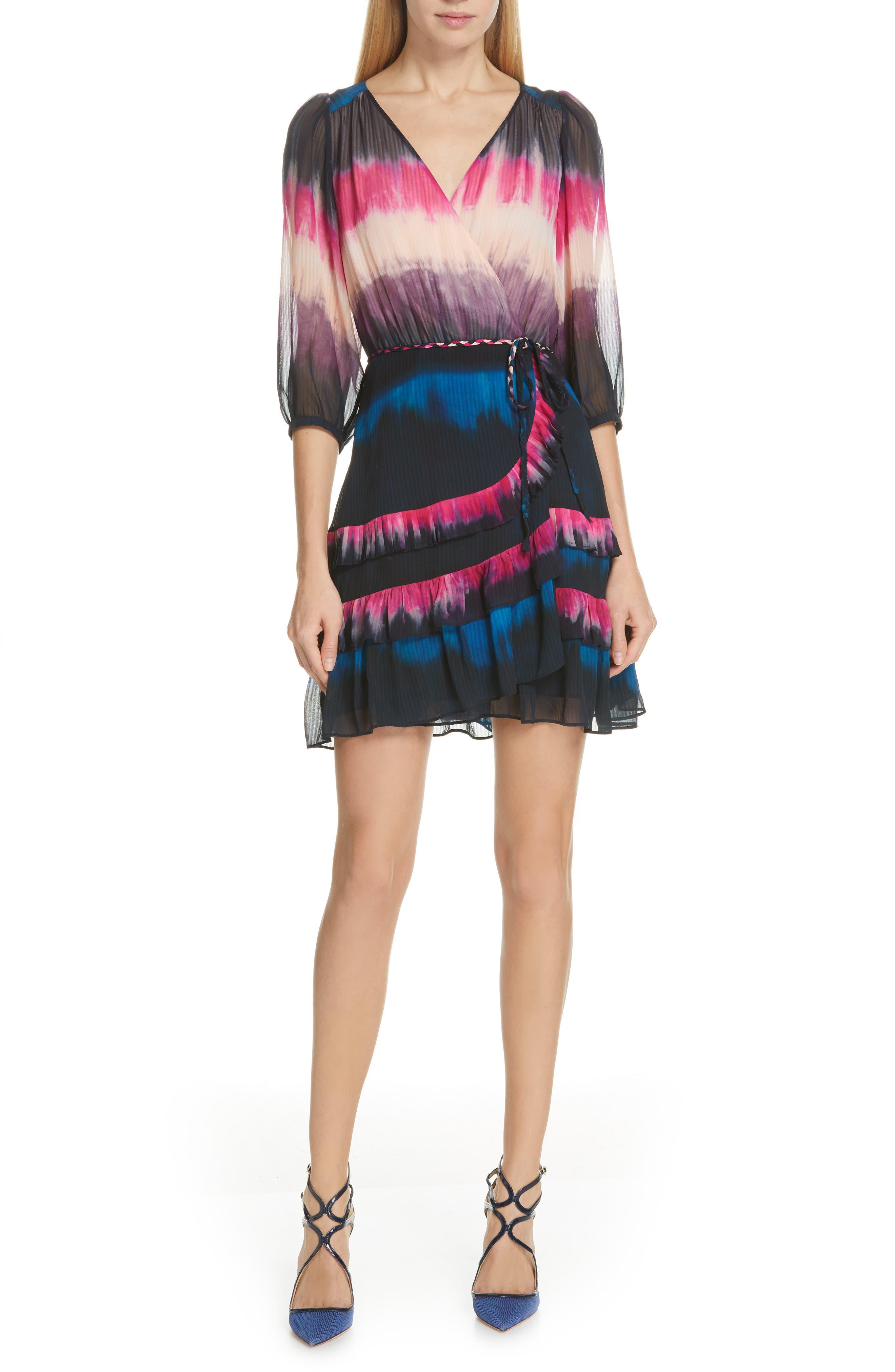 TANYA TAYLOR Valeria Tie Dye Silk Faux Wrap Dress, Main, color, TIE DYE STRIPE