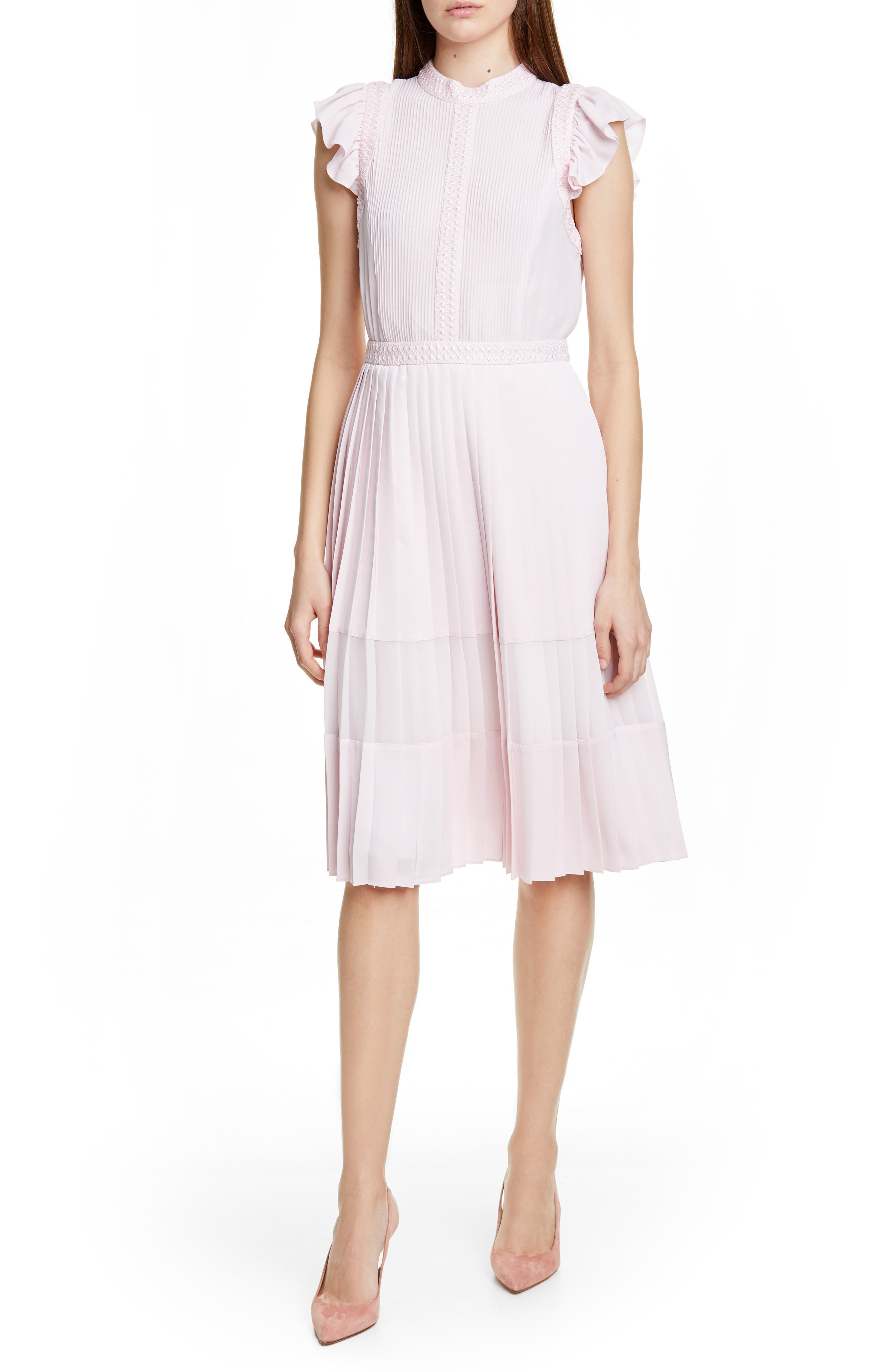Ted Baker London Averele Ruffle & Pleat Midi Dress, Pink
