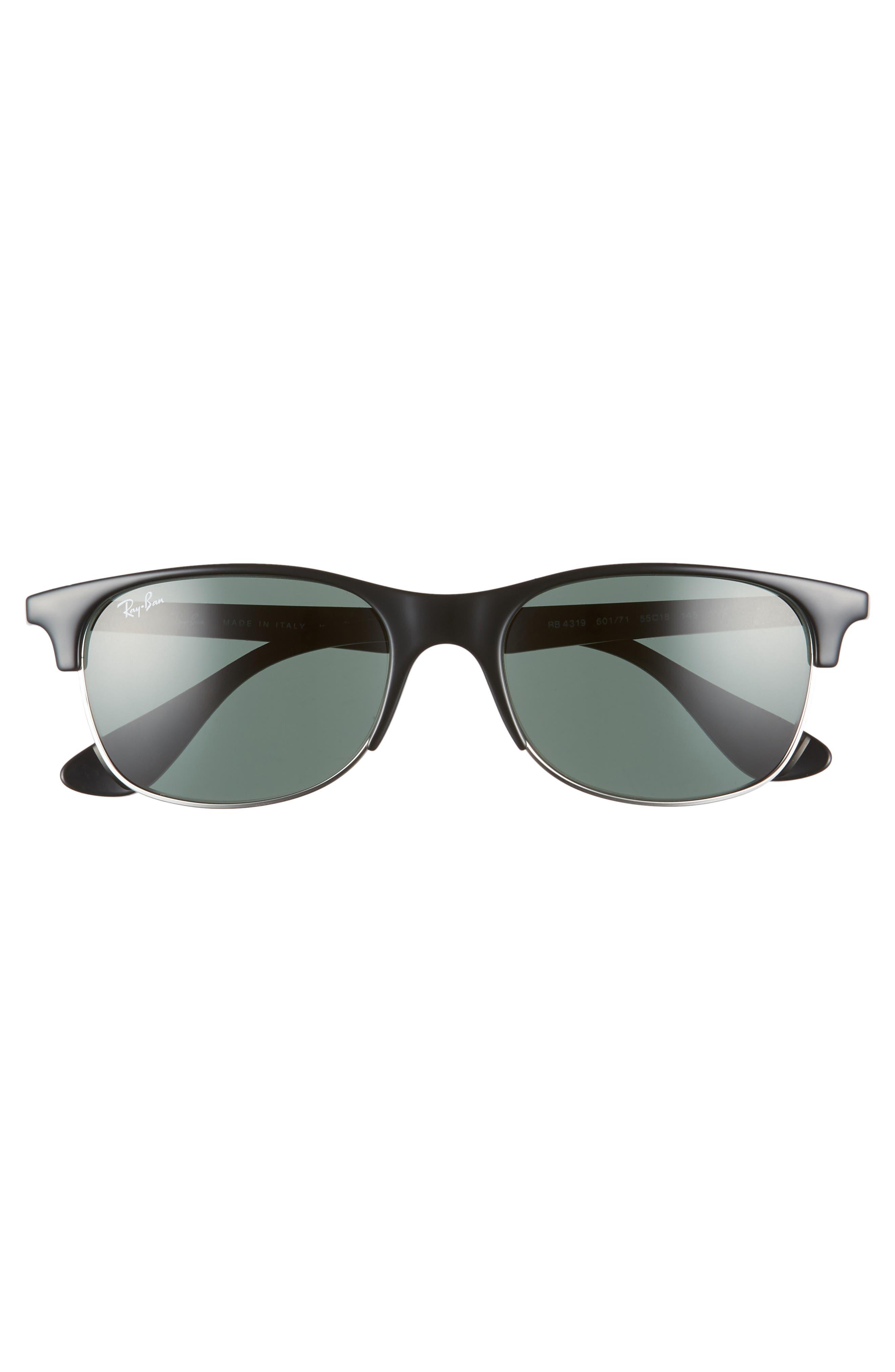 RAY-BAN, 55mm Sunglasses, Alternate thumbnail 3, color, BLACK/ DARK GREEN SOLID