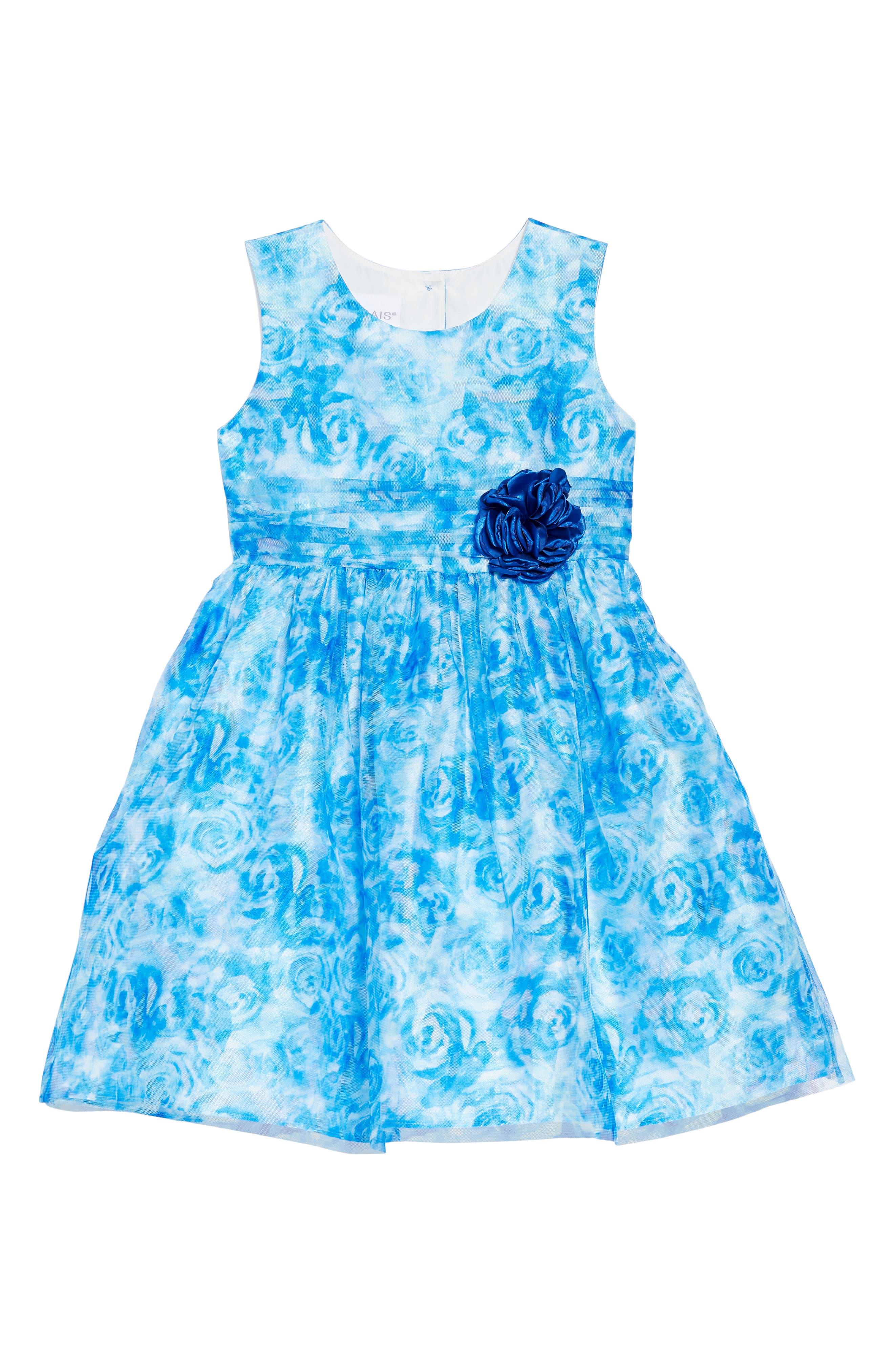 FRAIS Rose Mesh Overlay Dress, Main, color, BLUE
