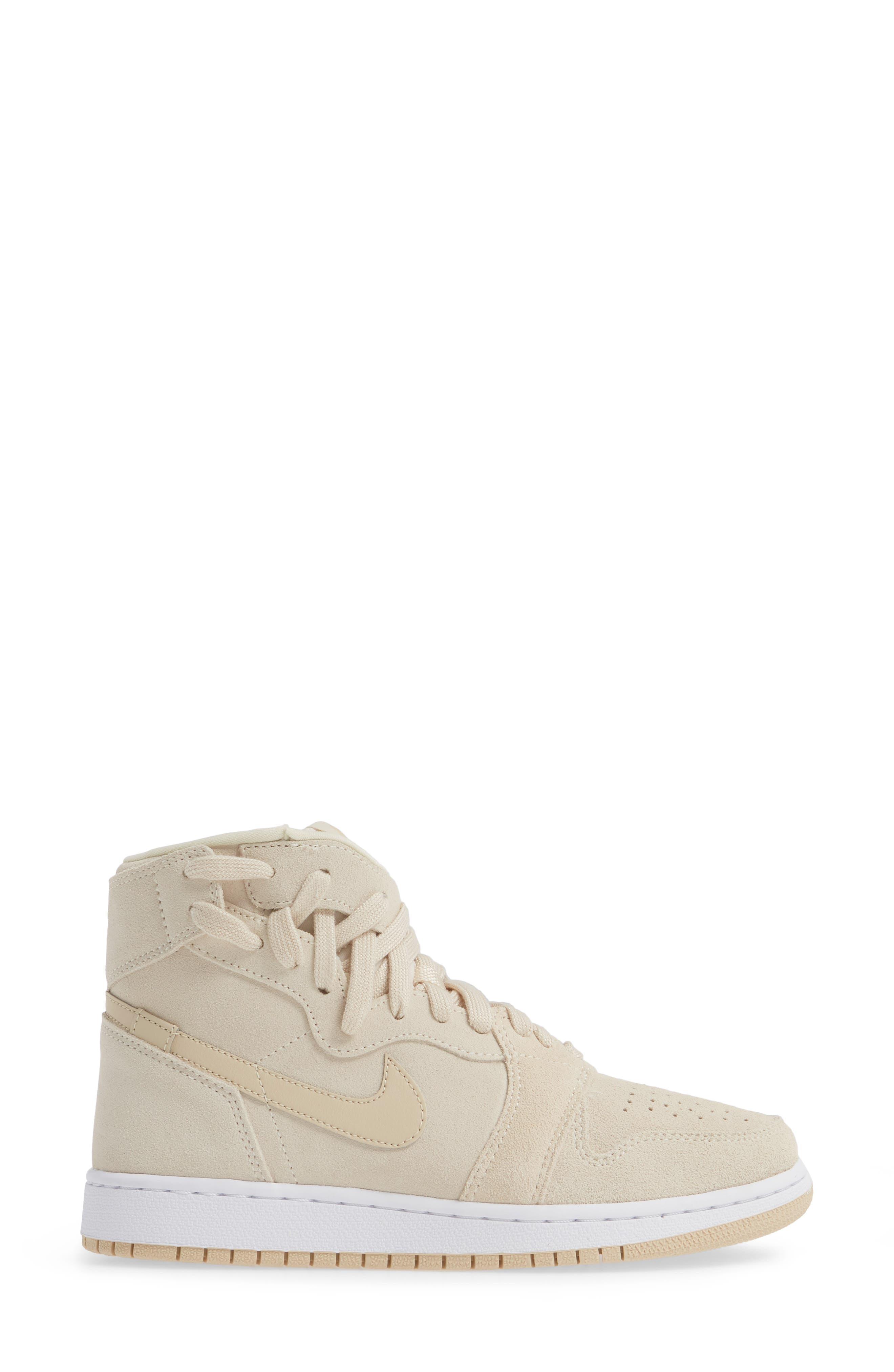 NIKE, Air Jordan 1 Rebel XX High Top Sneaker, Alternate thumbnail 3, color, LIGHT CREAM/ DESERT ORE/ WHITE