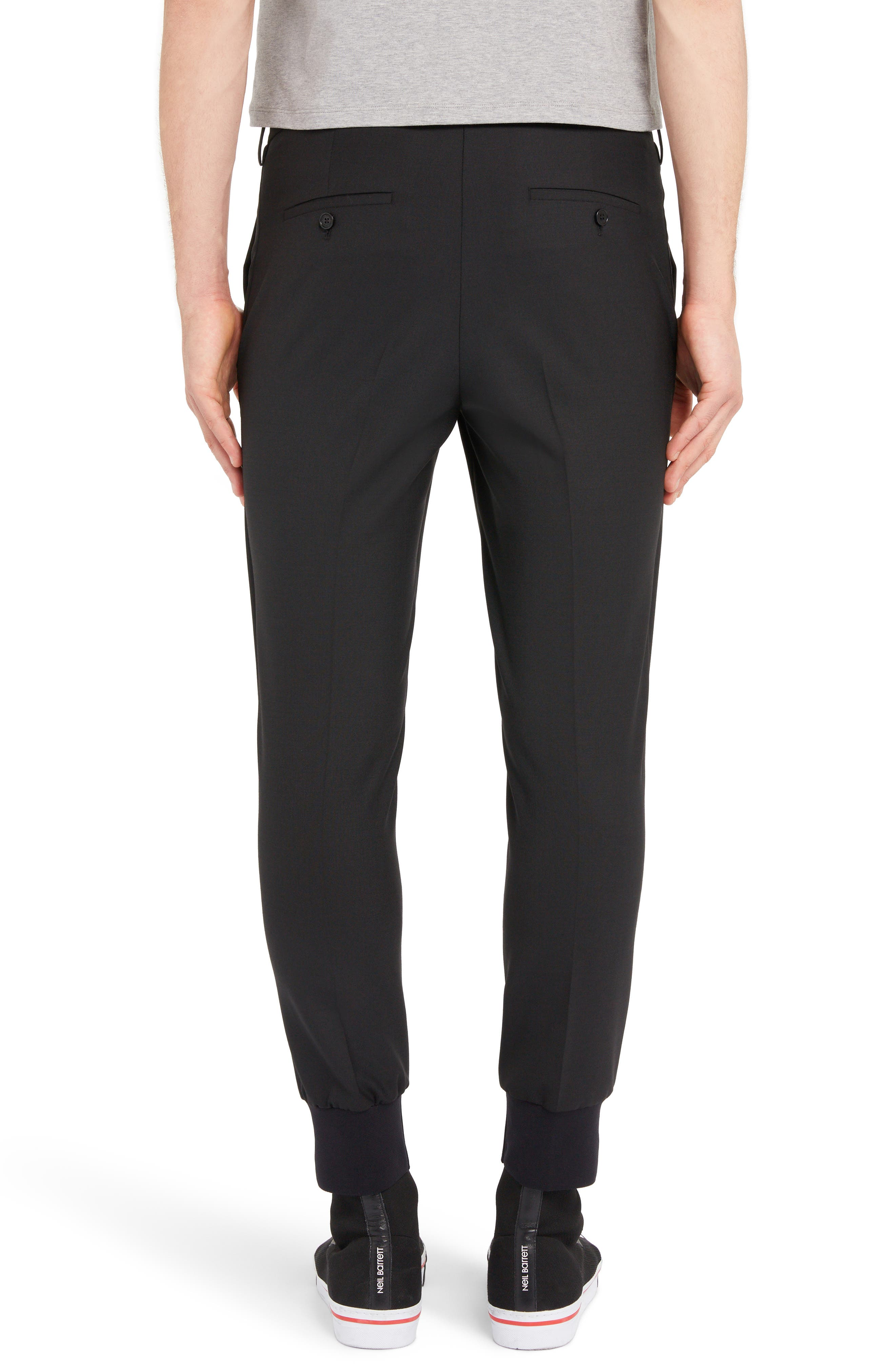 NEIL BARRETT, Ribbed Cuff Trousers, Alternate thumbnail 2, color, BLACK