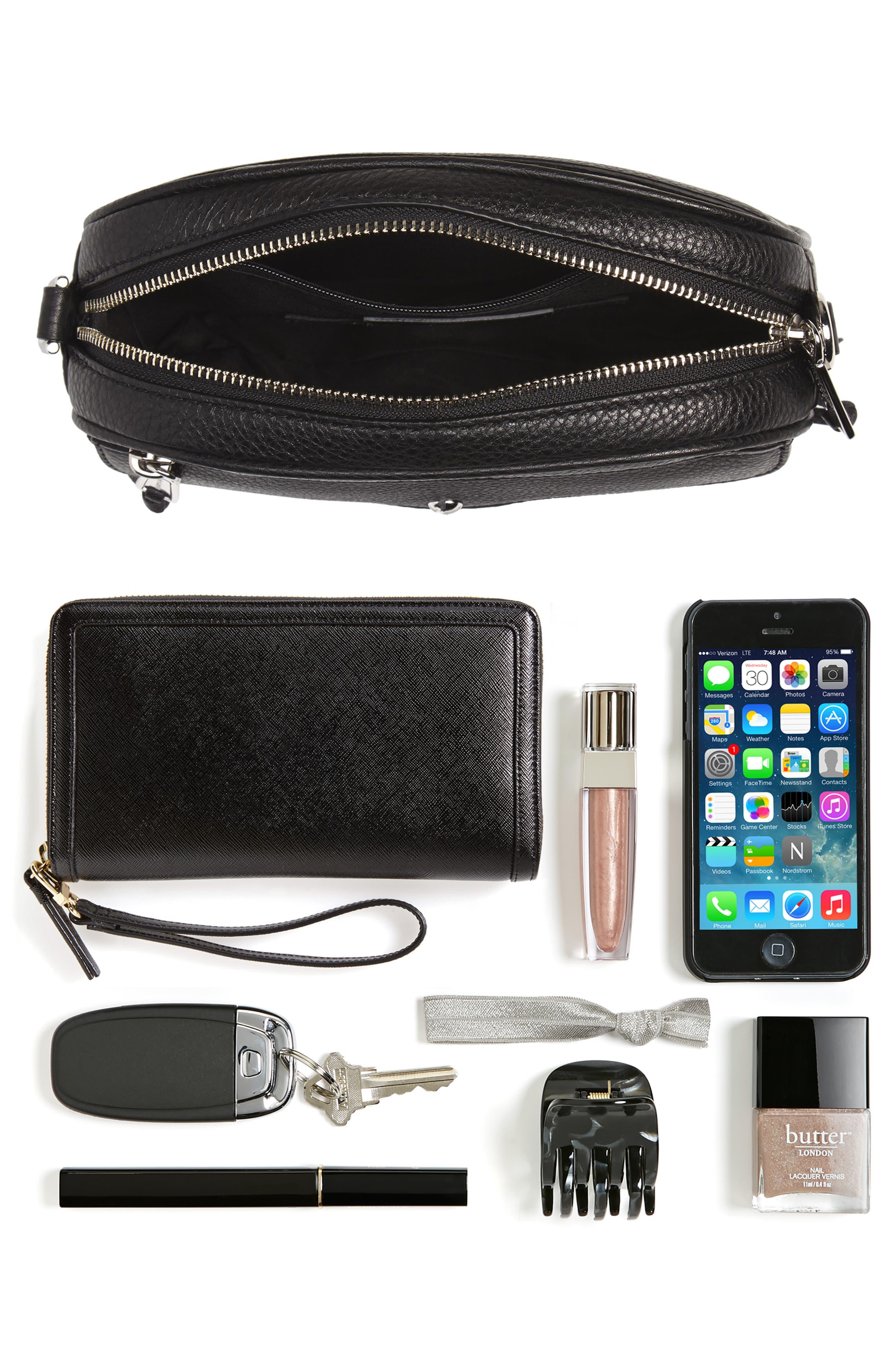 REBECCA MINKOFF, Blythe Leather Crossbody Bag, Alternate thumbnail 8, color, BLACK