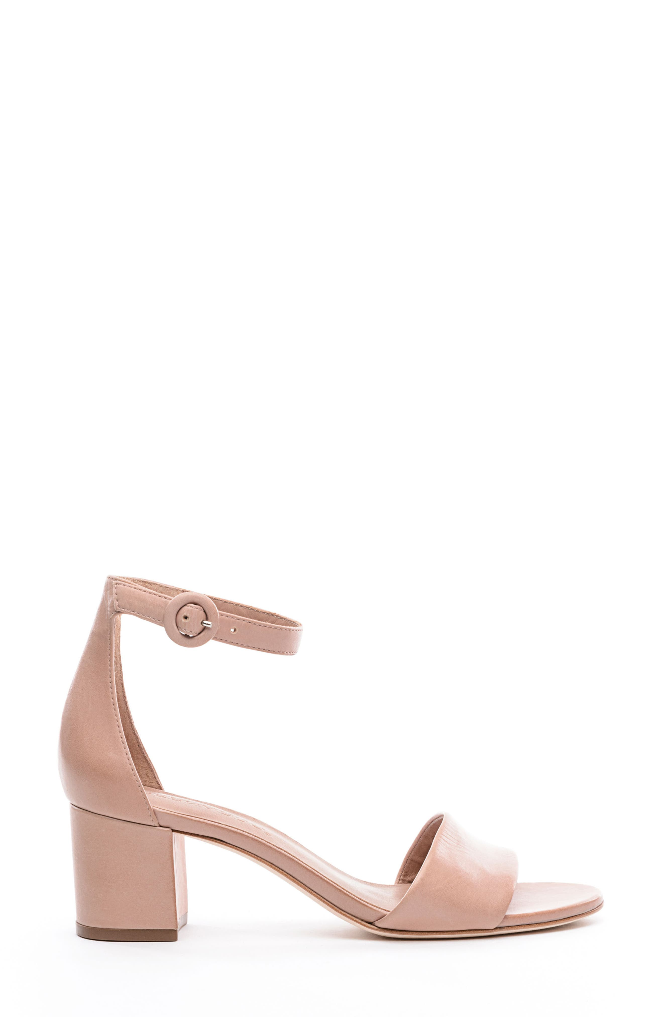 BERNARDO, Belinda Ankle Strap Sandal, Alternate thumbnail 3, color, BLUSH LEATHER