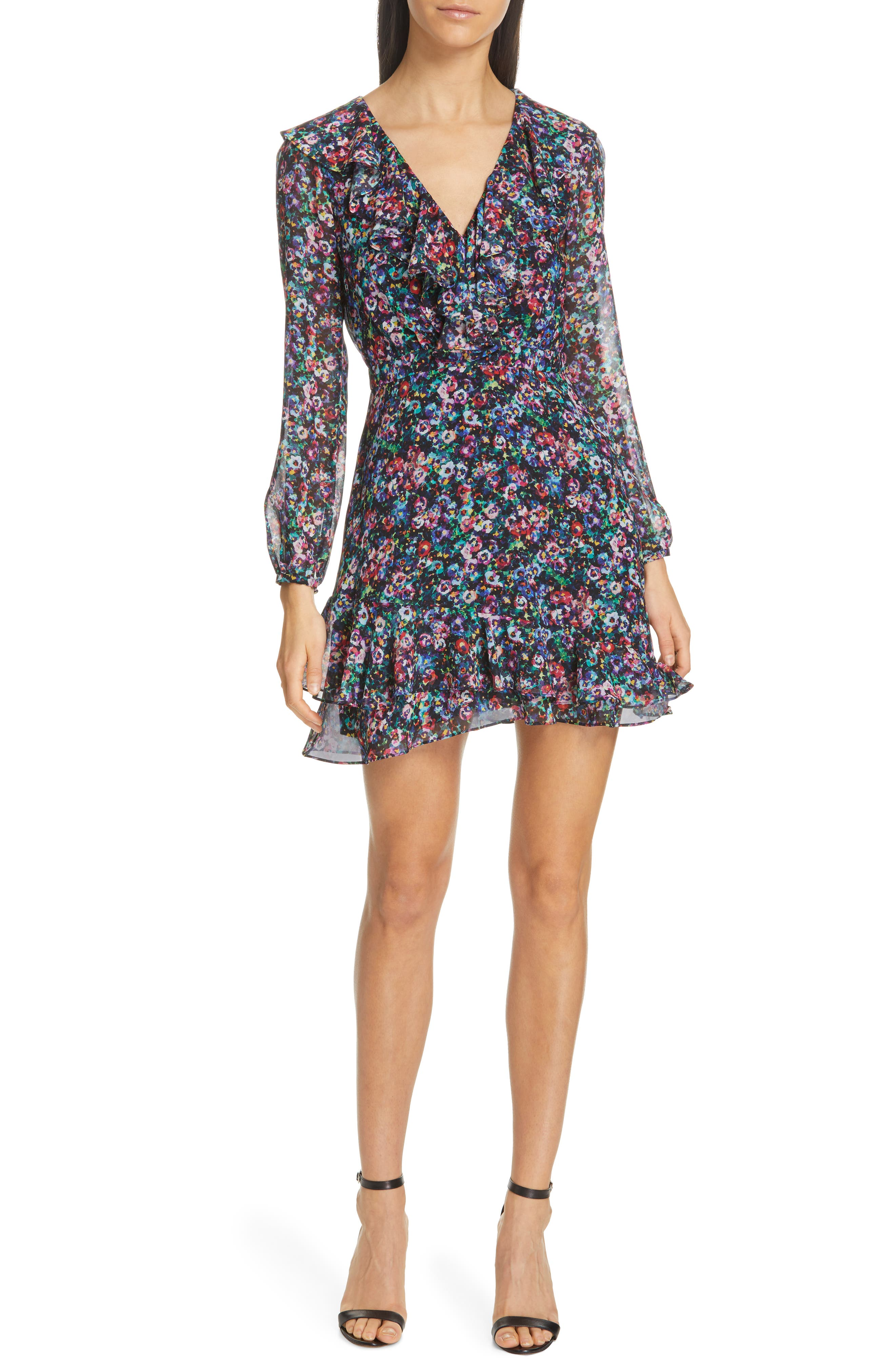 SALONI Jodie Floral Print Silk Minidress, Main, color, JEWEL ROSETTE