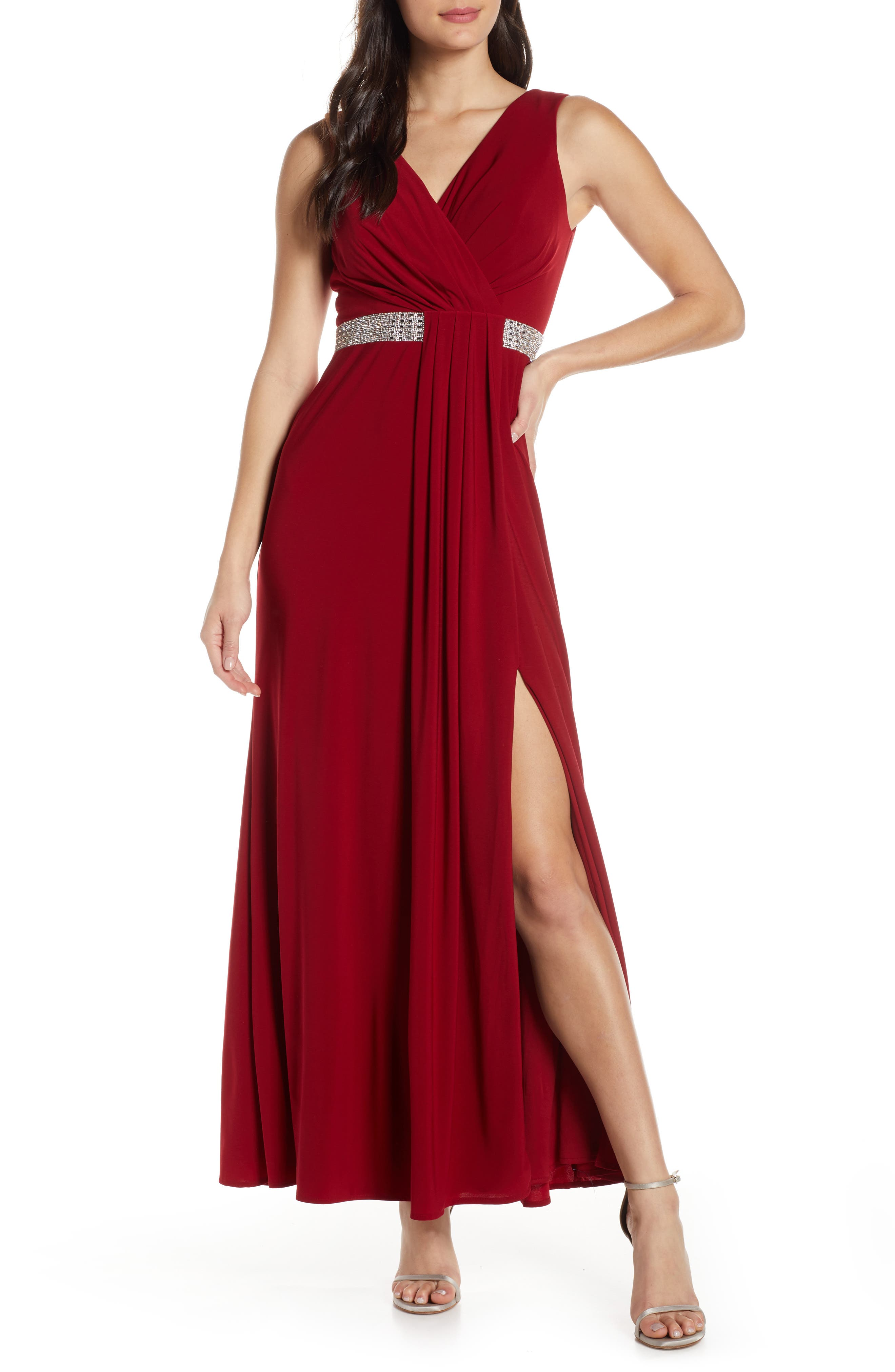 Morgan & Co. Pleat Front Evening Gown, Red