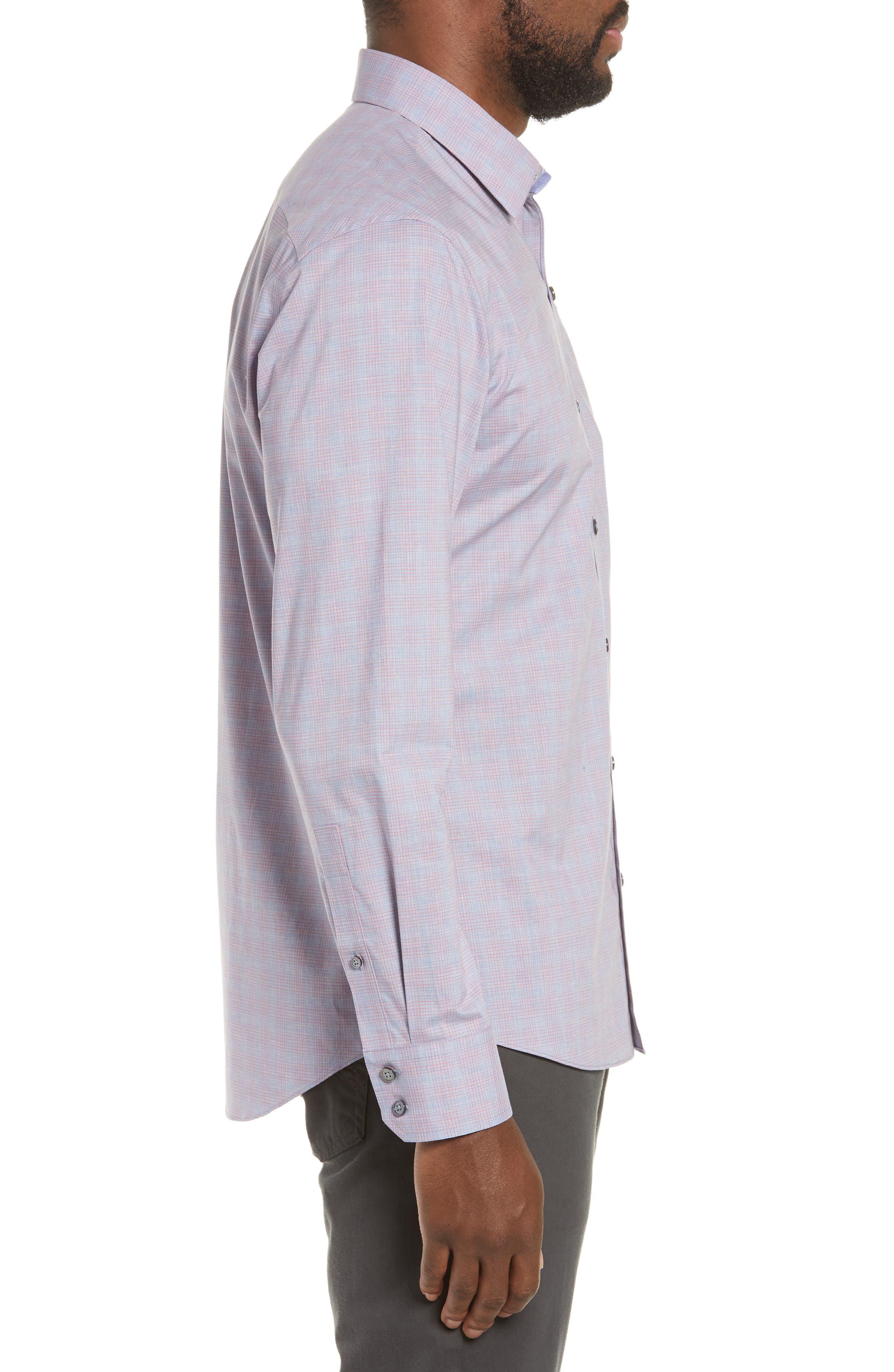 ZACHARY PRELL, Buckland Regular Fit Sport Shirt, Alternate thumbnail 4, color, FLAMINGO