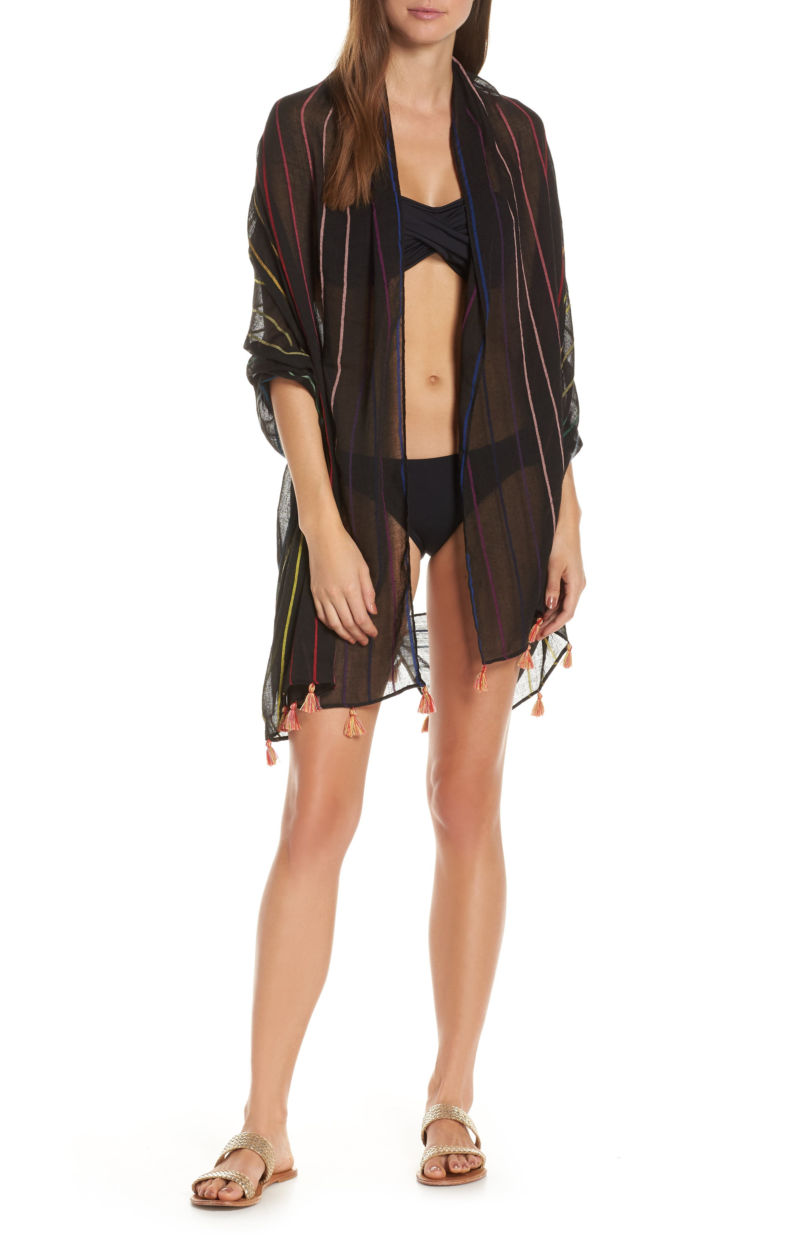 POOL TO PARTY, Spirit Cover-Up Vest, Alternate thumbnail 7, color, BLACK