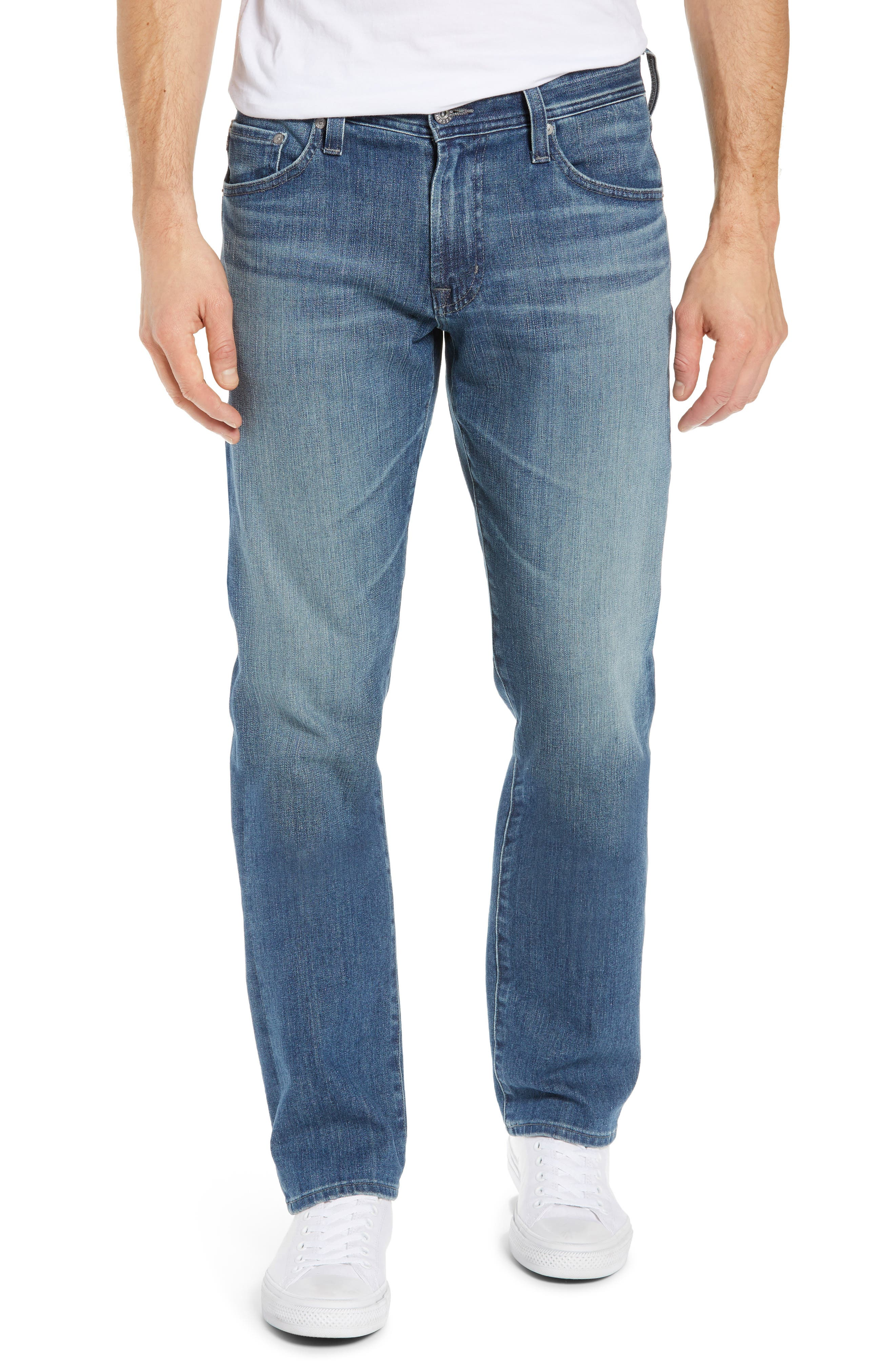 AG, Graduate Slim Straight Leg Jeans, Main thumbnail 1, color, APERTURE