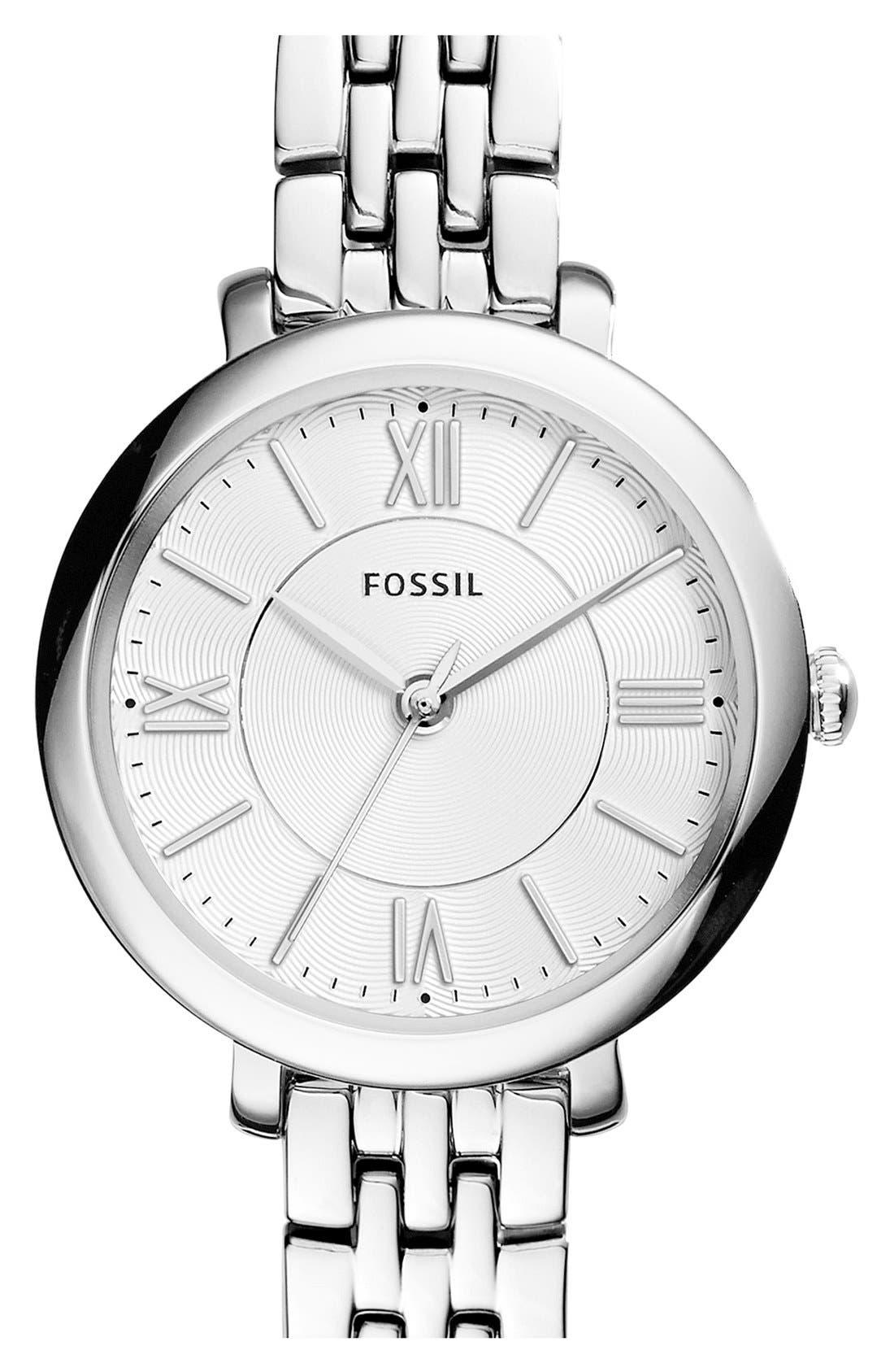FOSSIL, 'Jacqueline' Round Bracelet Watch, 26mm, Main thumbnail 1, color, SILVER