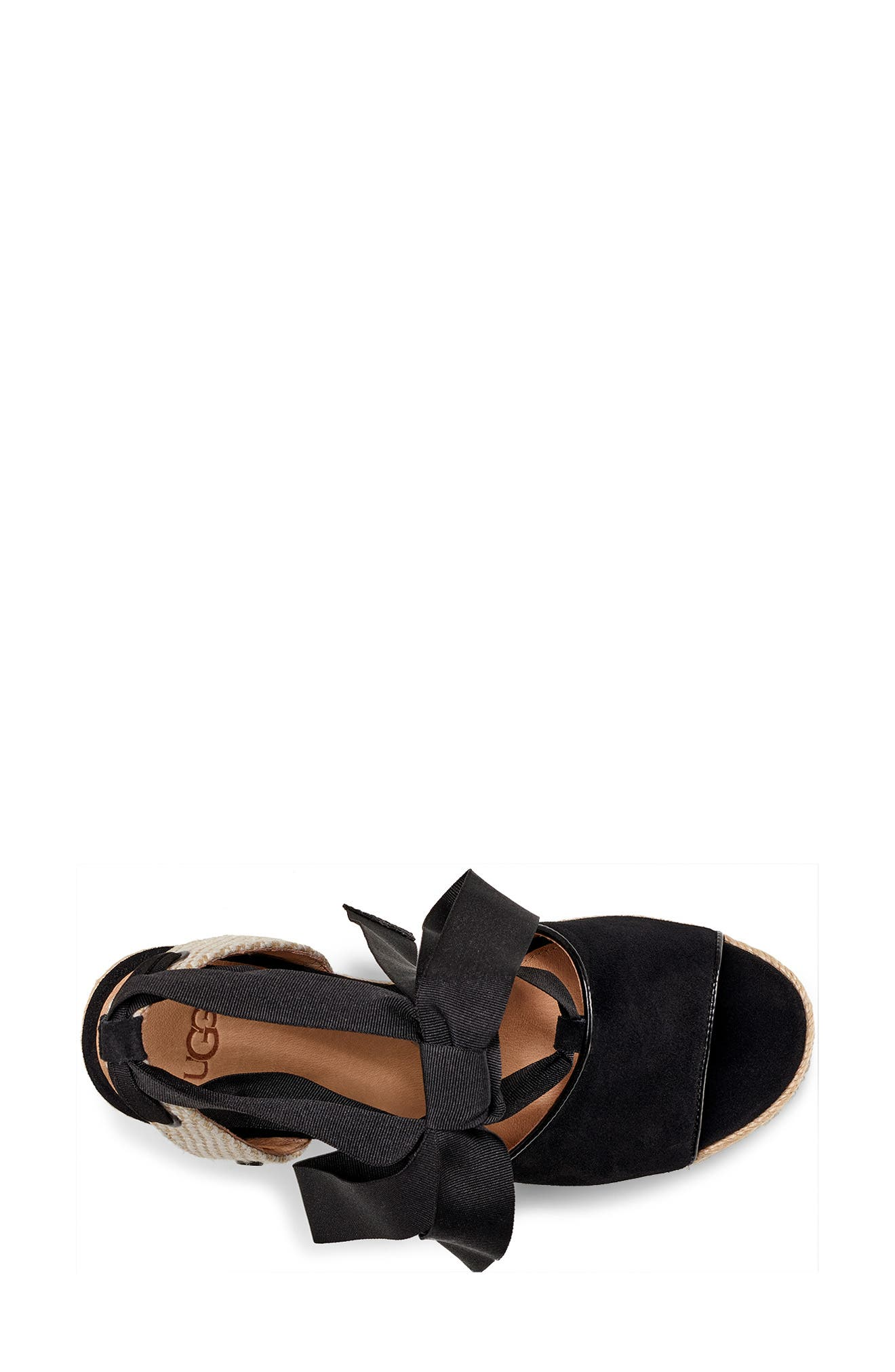 UGG<SUP>®</SUP>, Shiloh Wedge Sandal, Alternate thumbnail 4, color, BLACK FABRIC