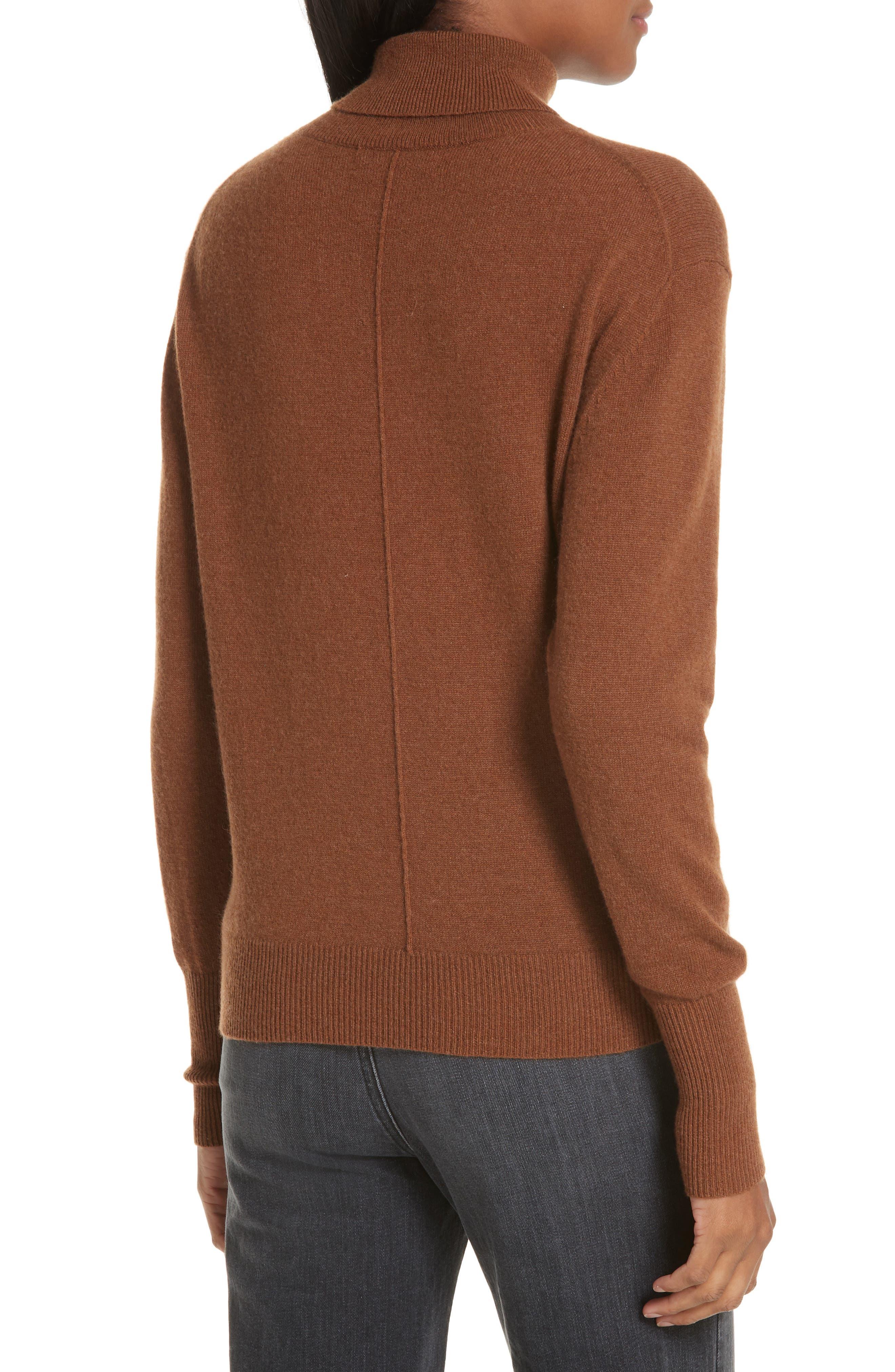 NILI LOTAN, Ralphie Cashmere Turtleneck Sweater, Alternate thumbnail 2, color, COGNAC